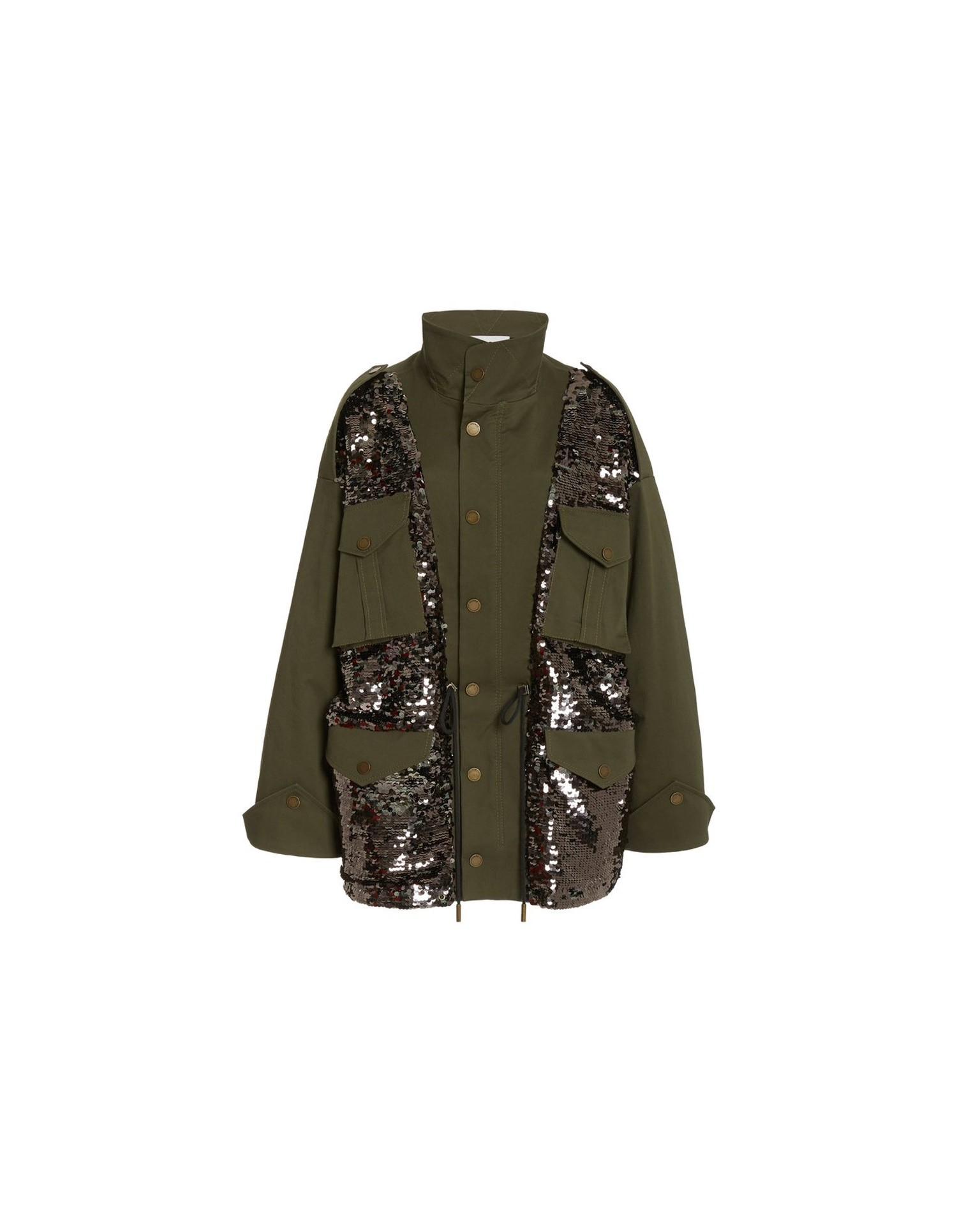MONSE Sequined Field Jacket in Olive and Taupe Flat Front