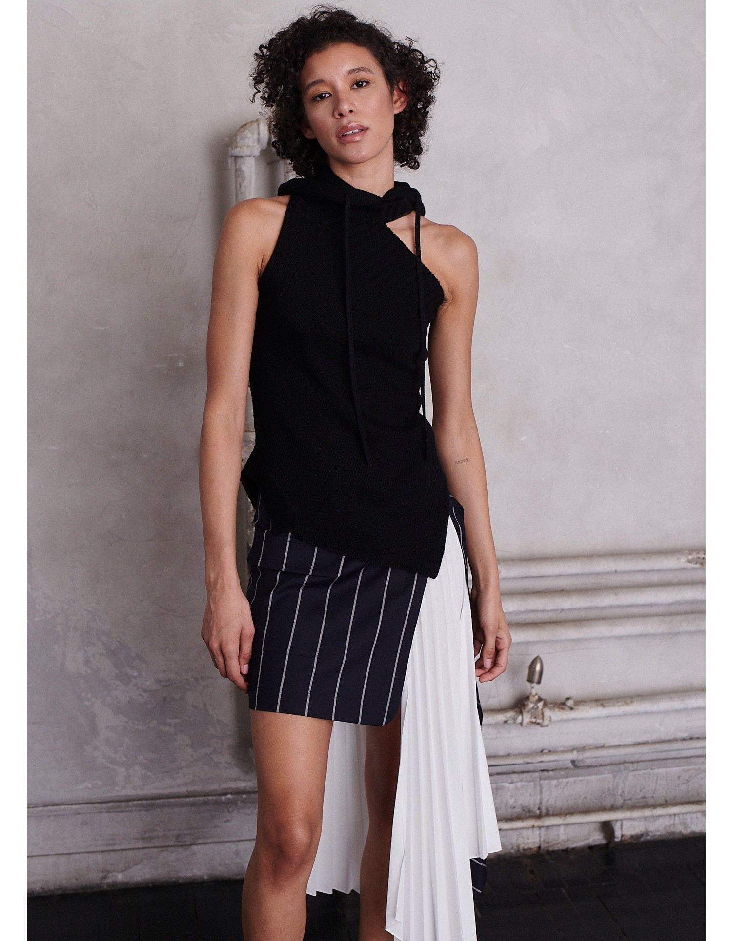 MONSE Sleeveless Hoodie Knit Top in Black on Model Front View