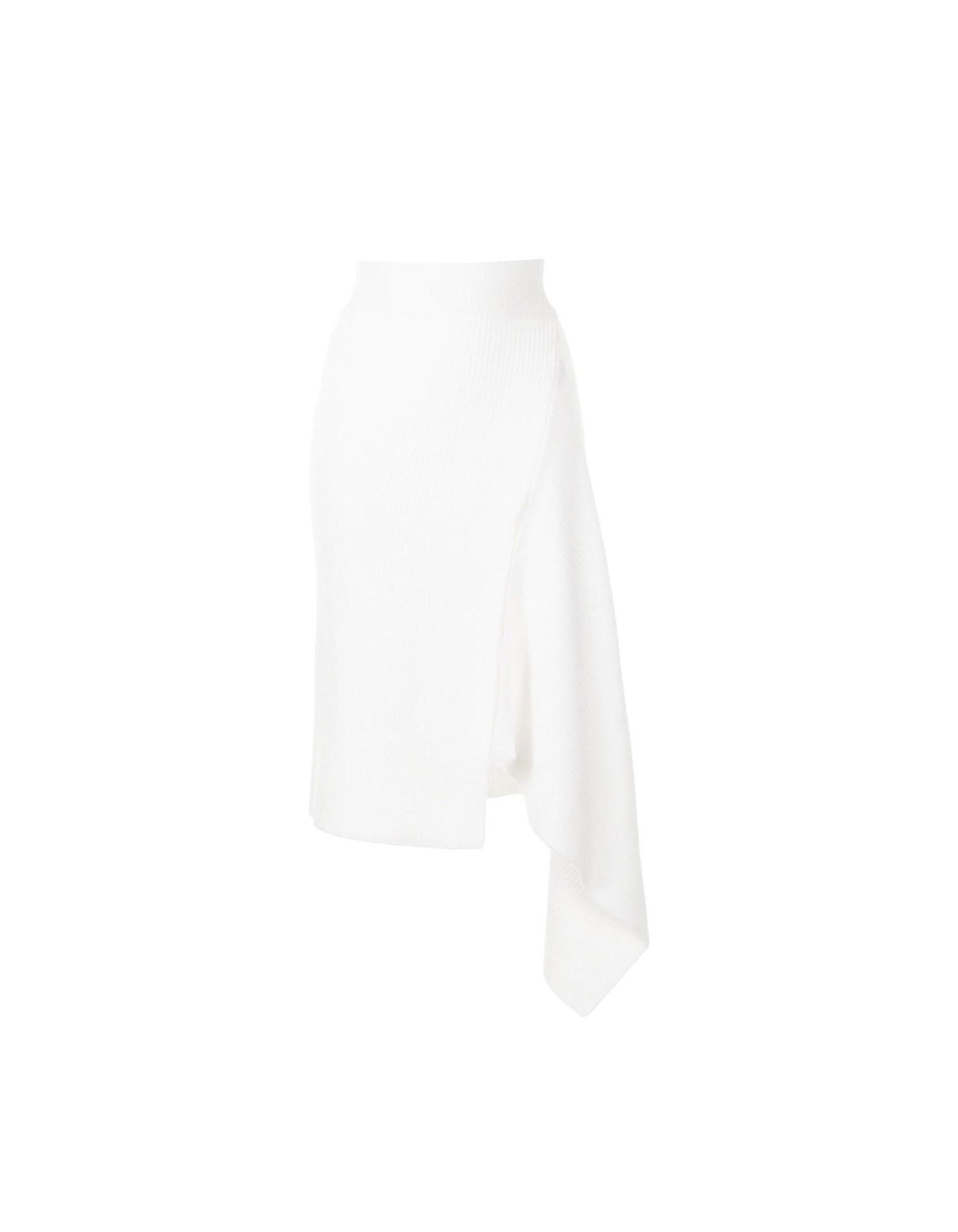 MONSE Sliced Ribbed Knit Skirt in Ivory Flat Front