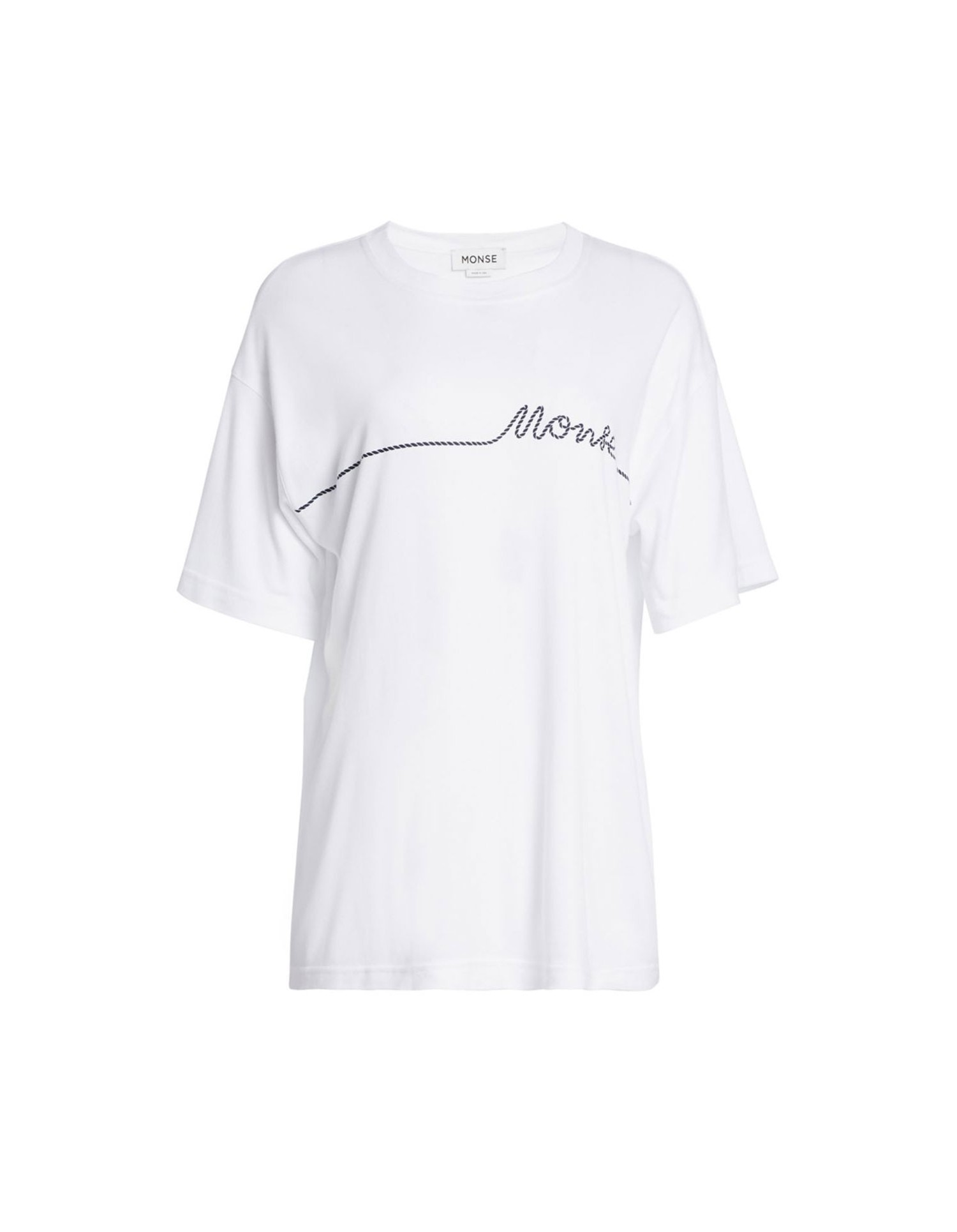 Monse Unisex Small Rope Print Tee in White Front