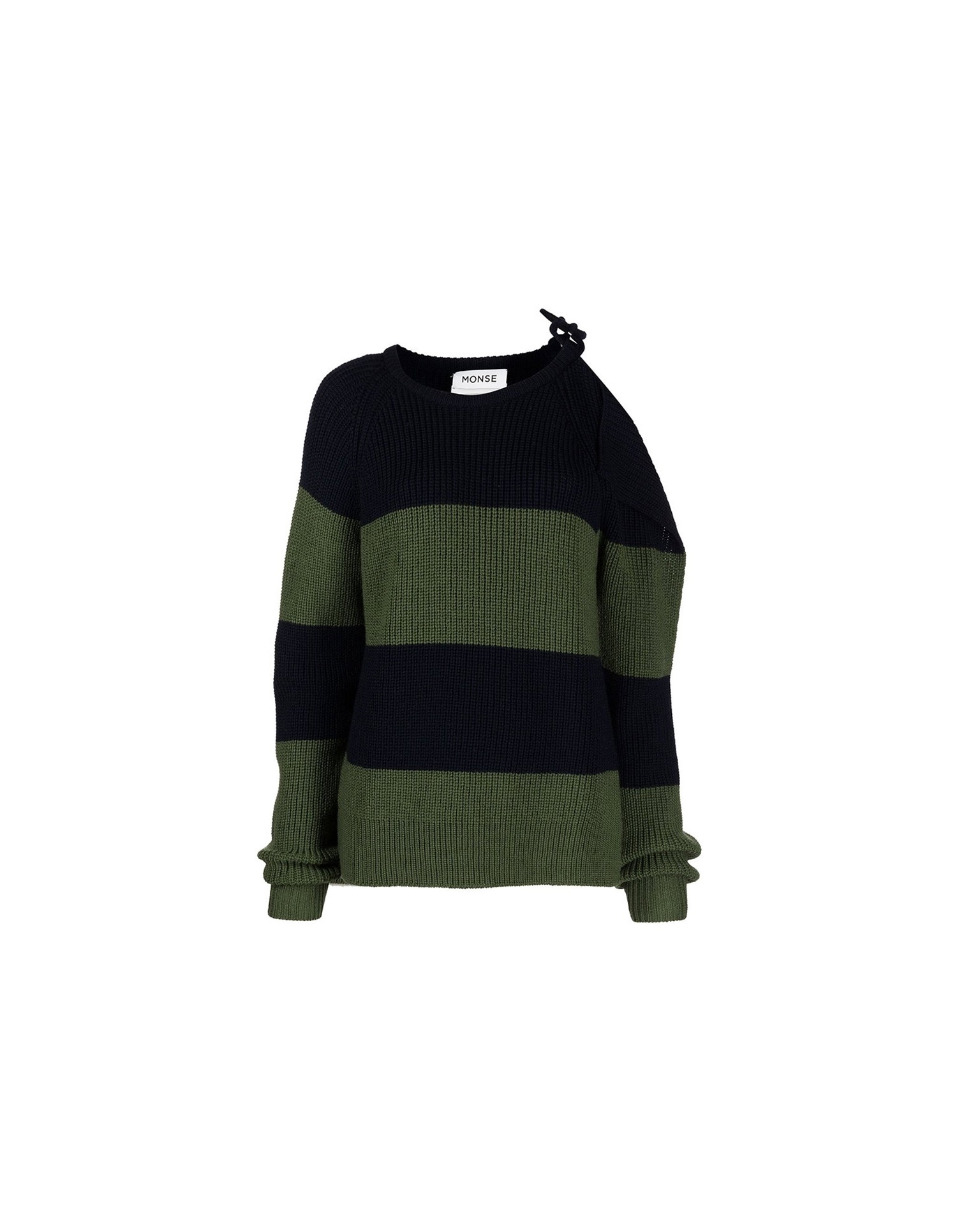 MONSE Stripe Buckle Shoulder Sweater in Midnight and Olive Flat Front