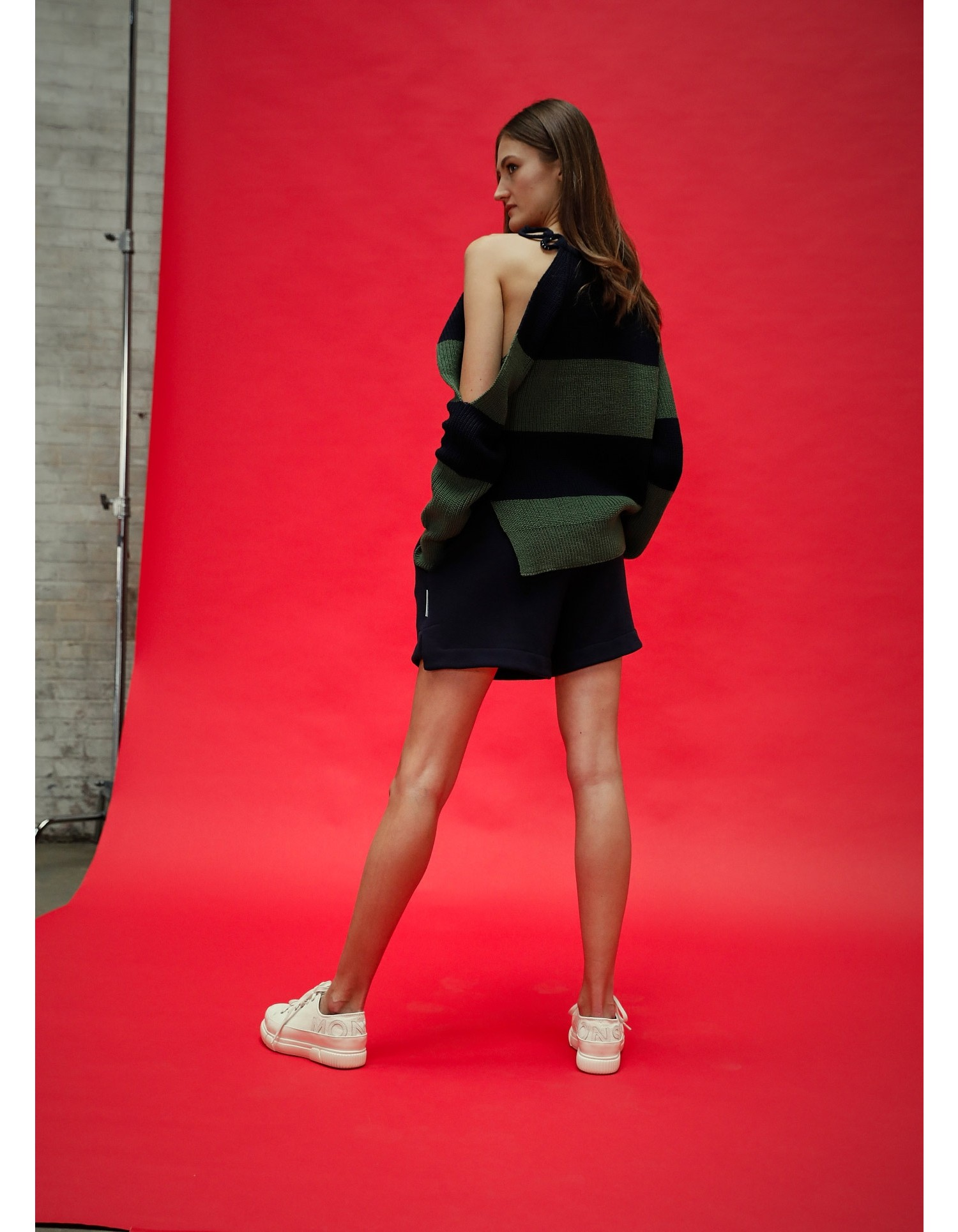 MONSE Stripe Buckle Shoulder Sweater in Midnight and Olive on Model Back View
