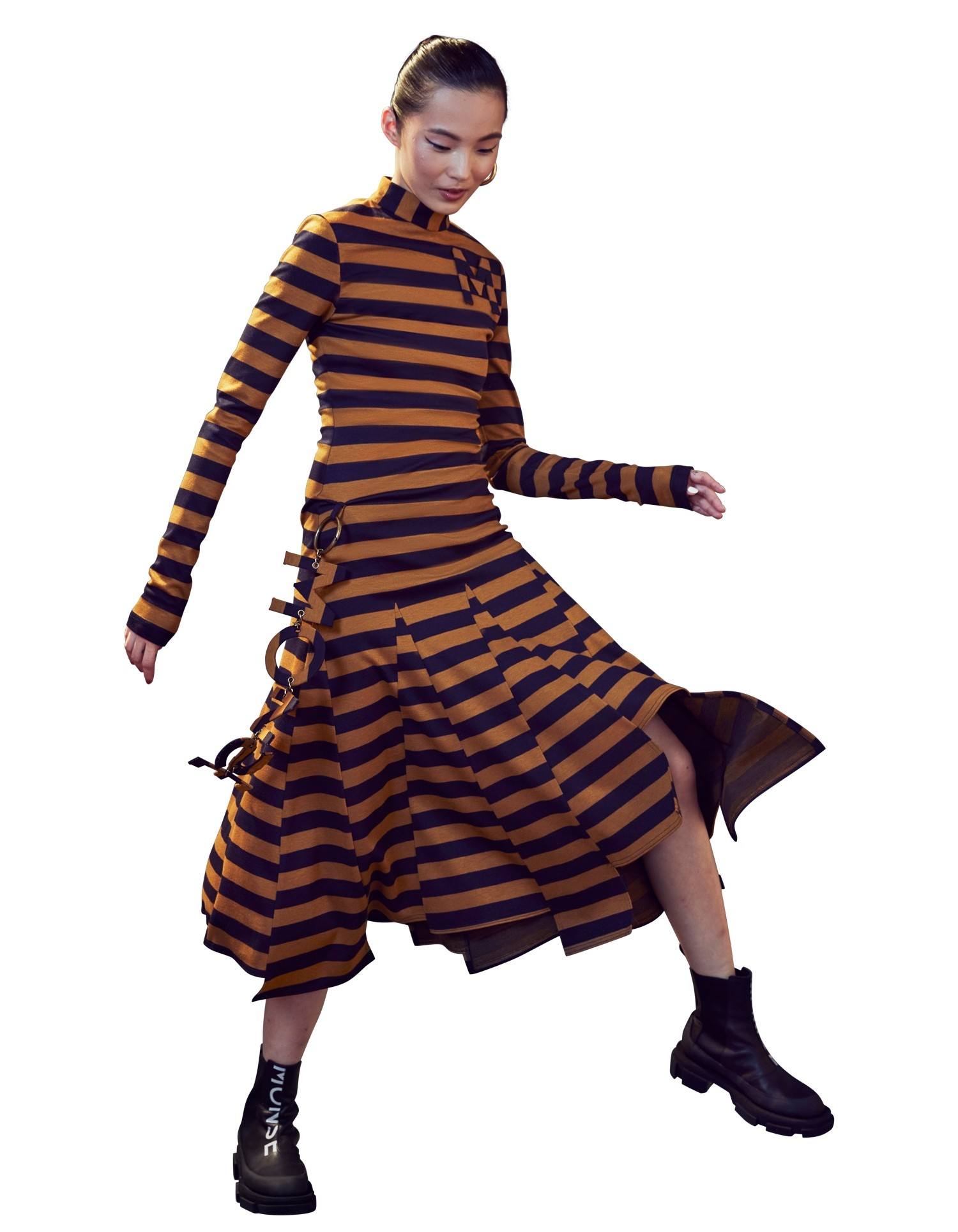 Stripe Godet Dress