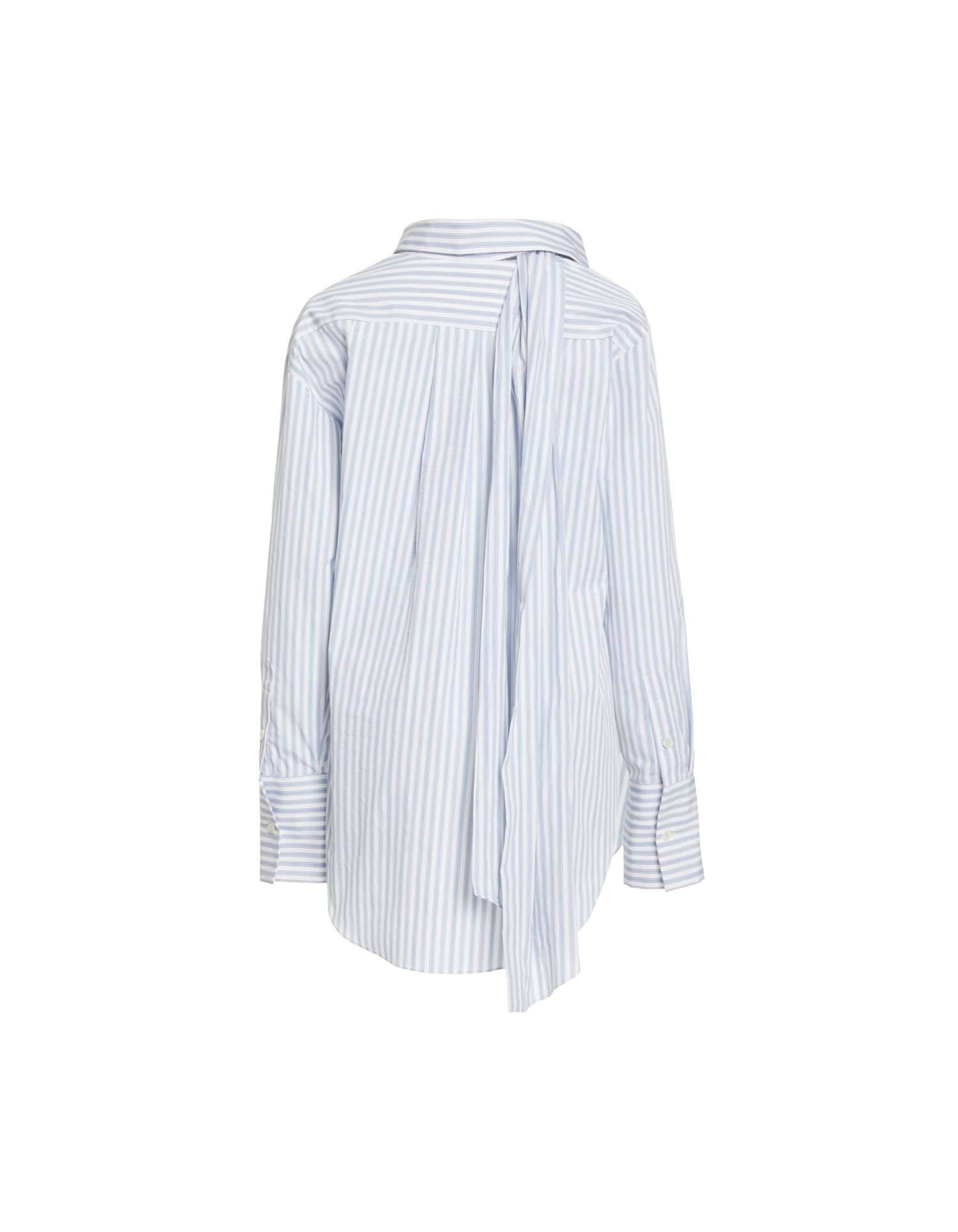 MONSE Stripe Poplin Twisted Scarf Shirt Flat Back