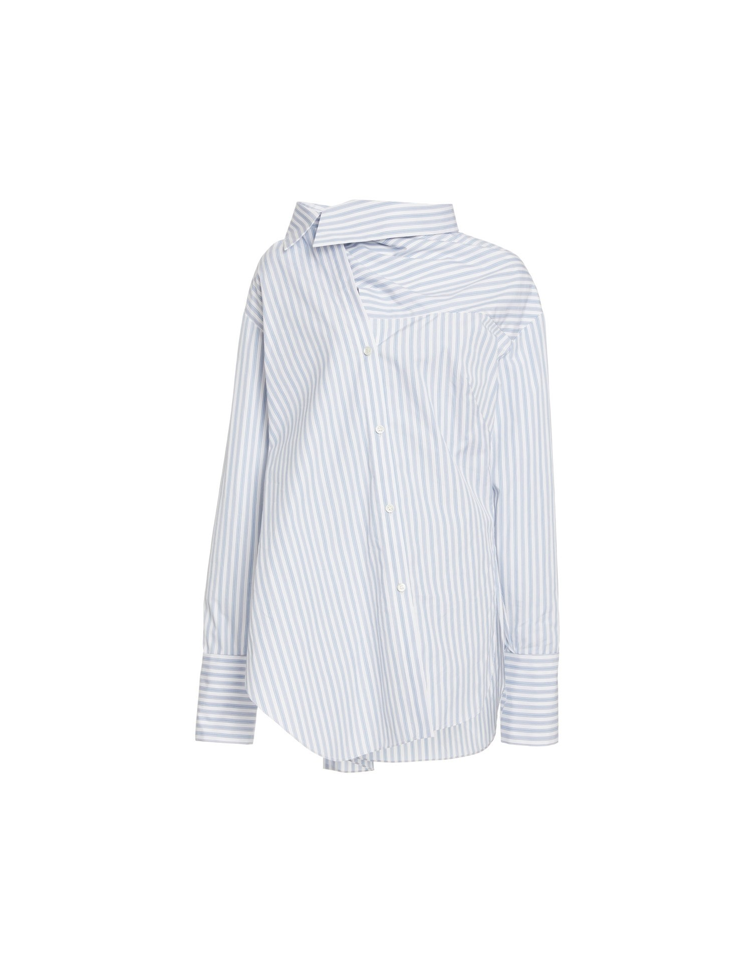 MONSE Stripe Poplin Twisted Scarf Shirt Flat Front