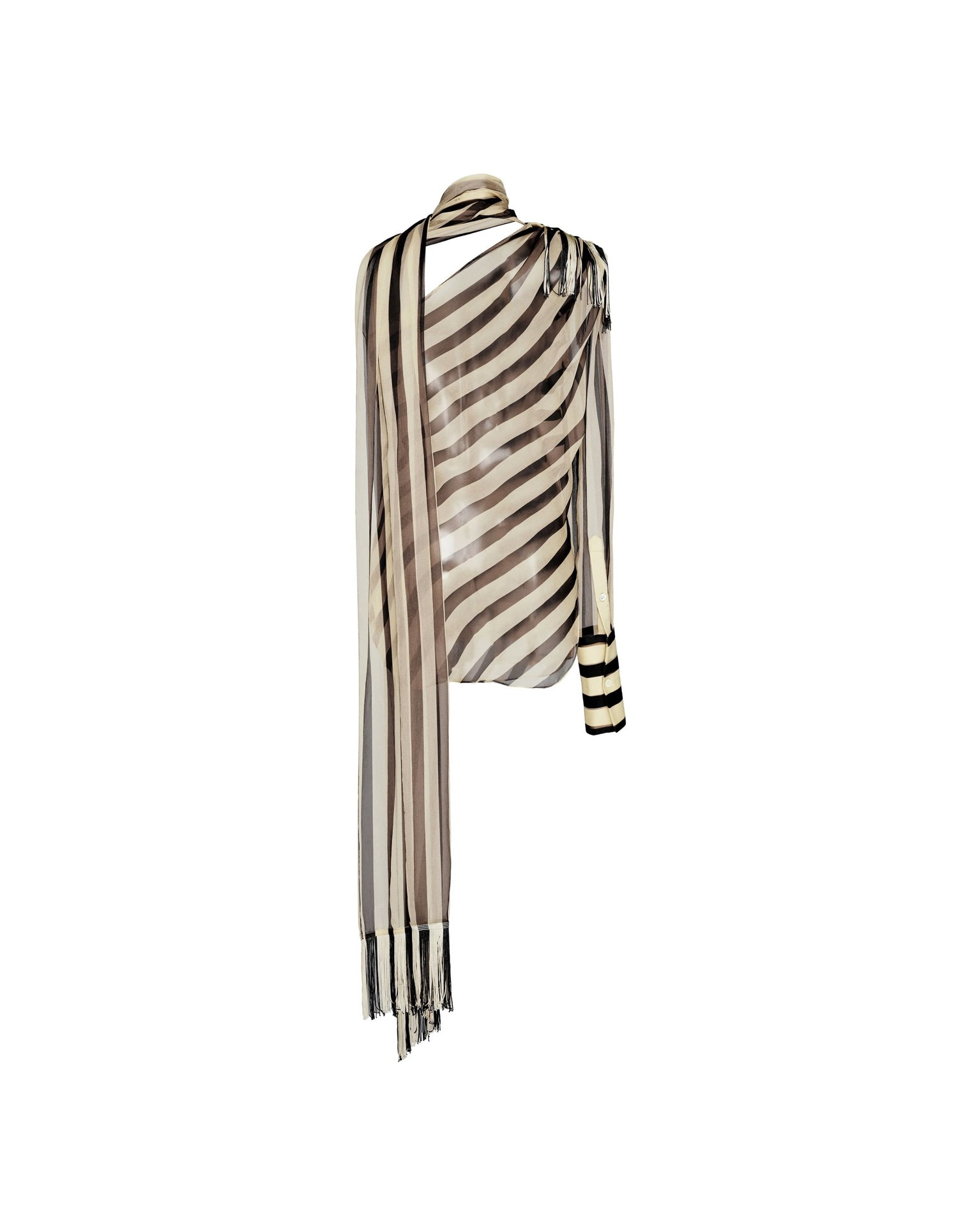 MONSE Striped Chiffon Regalia Scarf Blouse Flat Back