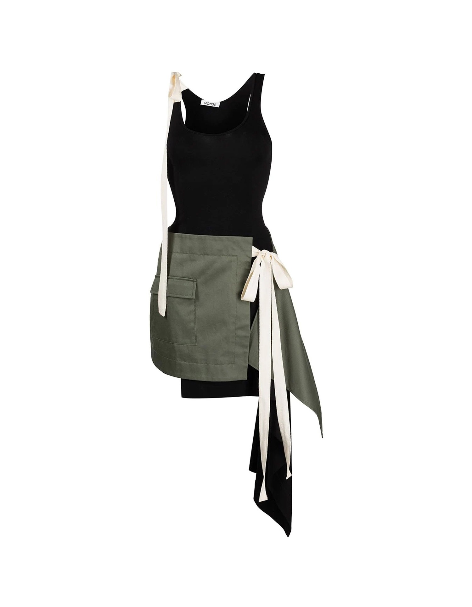 MONSE T-Skirt Dress in Black and Olive Flat Front