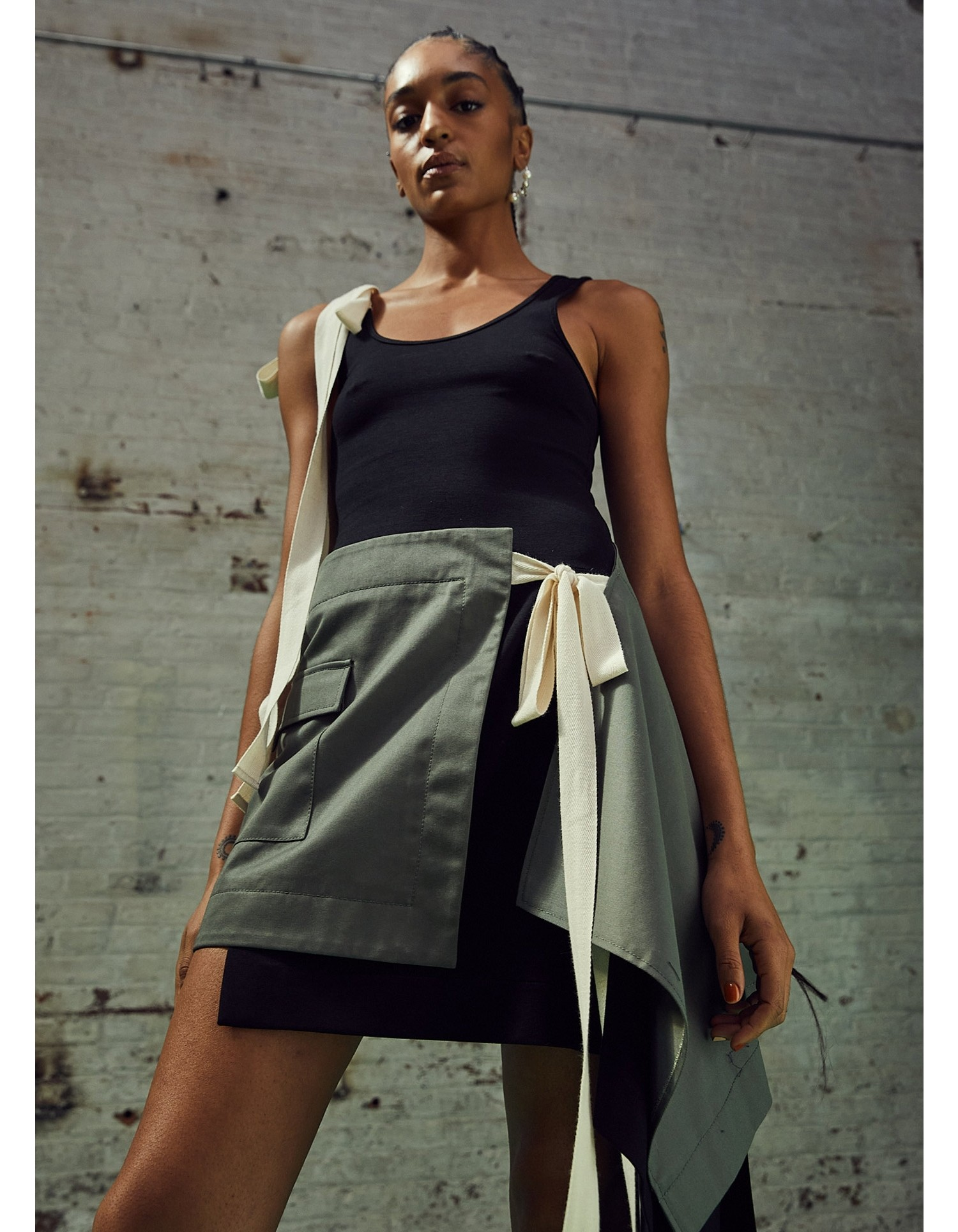MONSE T-Skirt Dress in Black and Olive on Model Front View