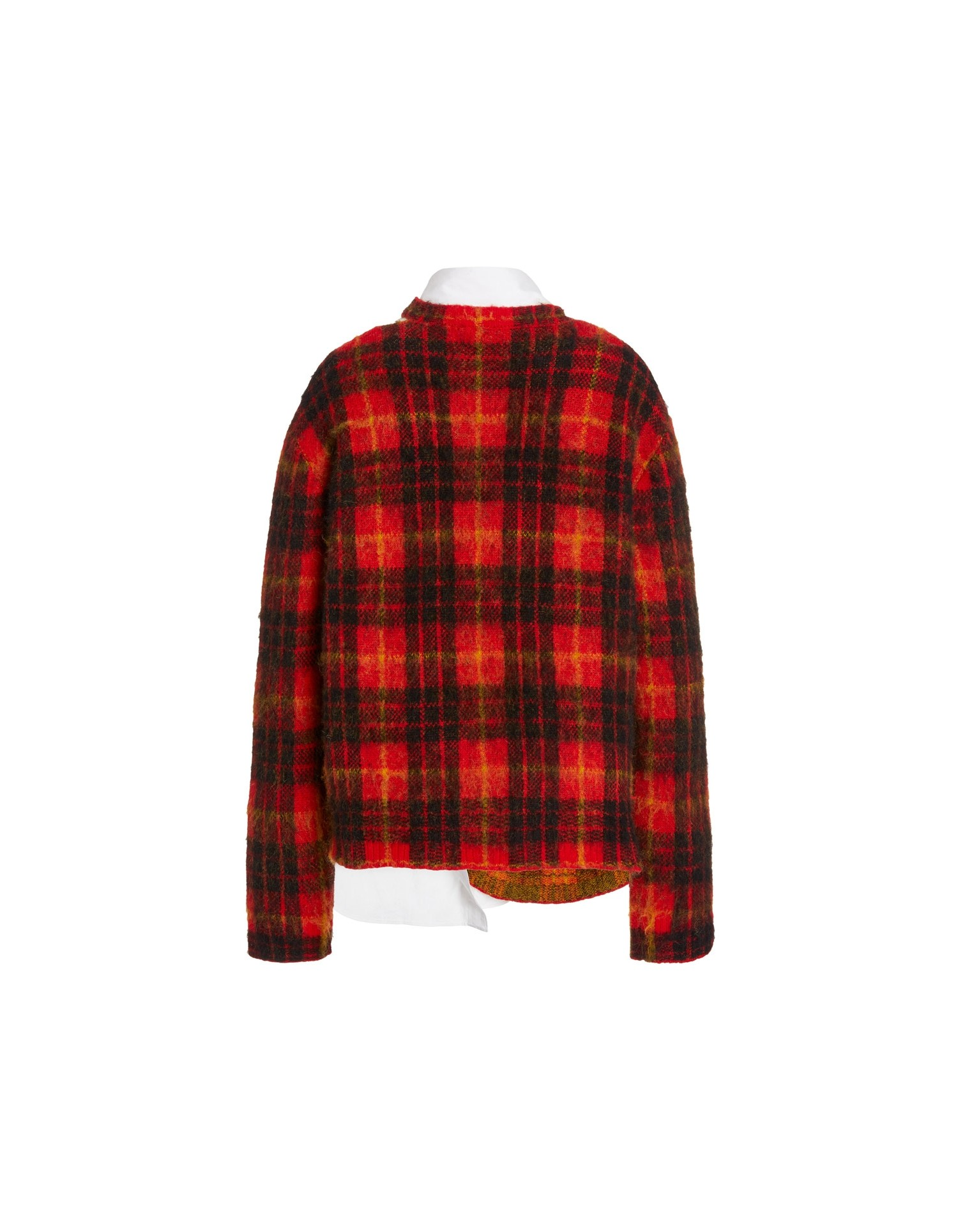 MONSE Tartan Crooked Tail Pullover in Scarlet Multi Flat Back