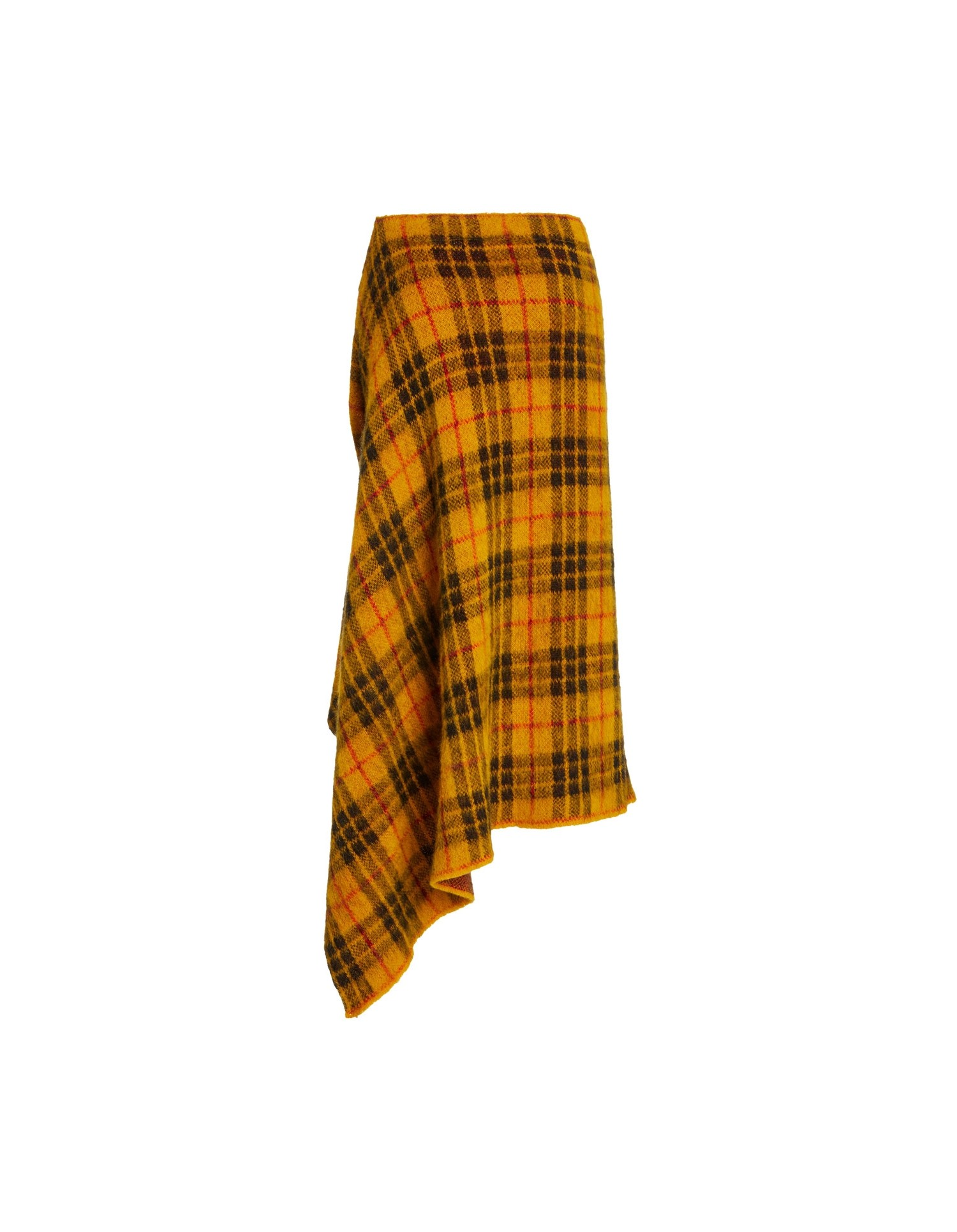 MONSE Tartan Mohair Skirt in Mustard Multi Flat Back