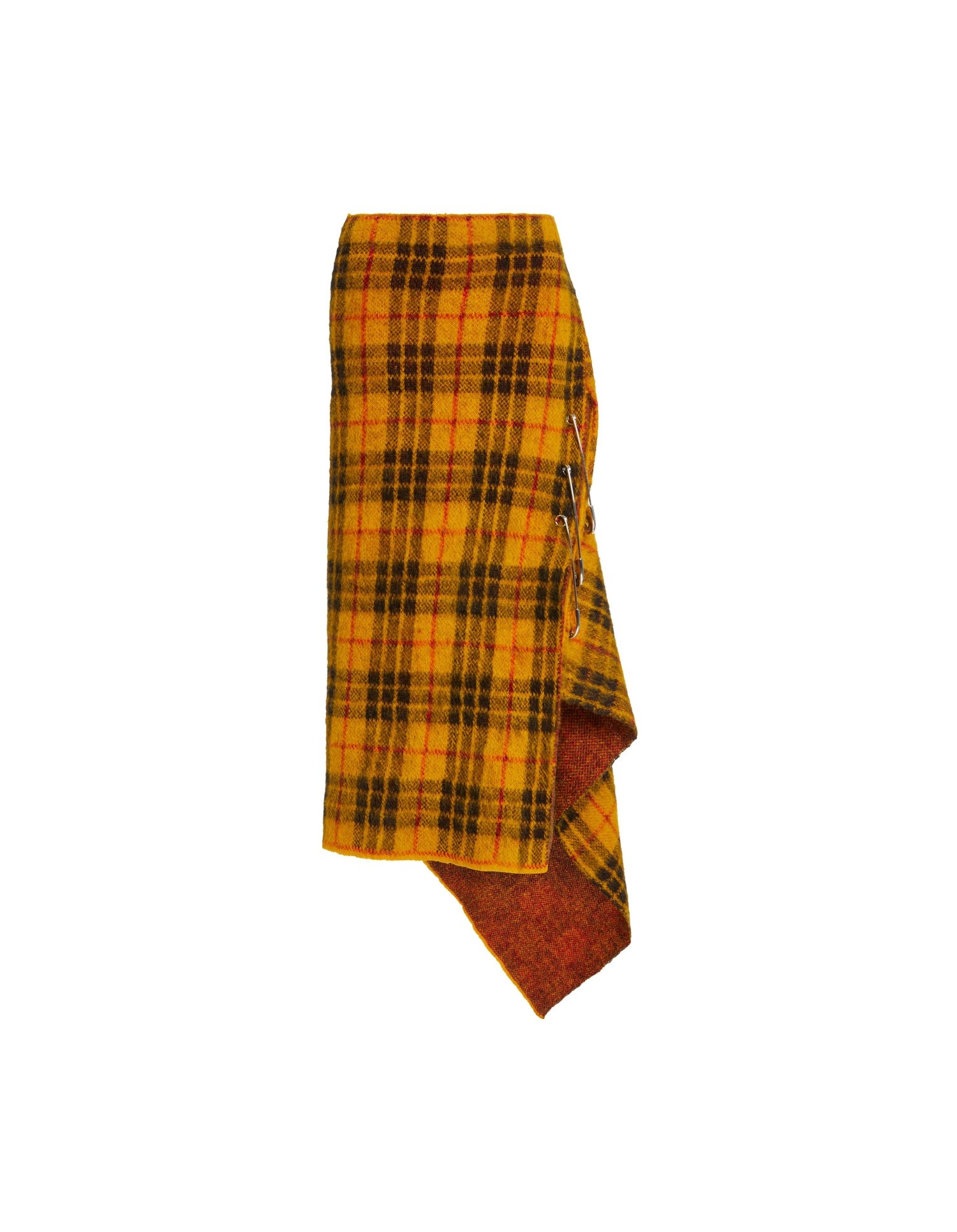 MONSE Tartan Mohair Skirt in Mustard Multi Flat Front