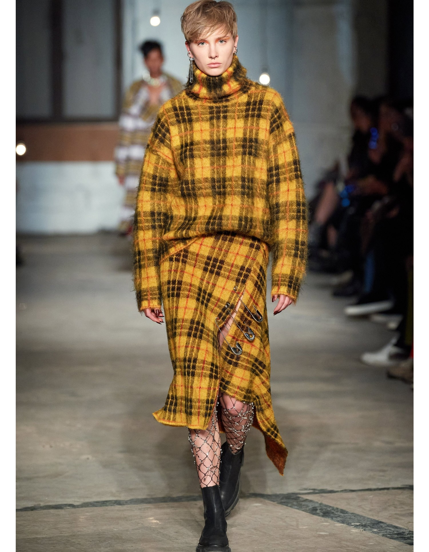 MONSE Tartan Mohair Skirt in Mustard Multi on Model Runway Look
