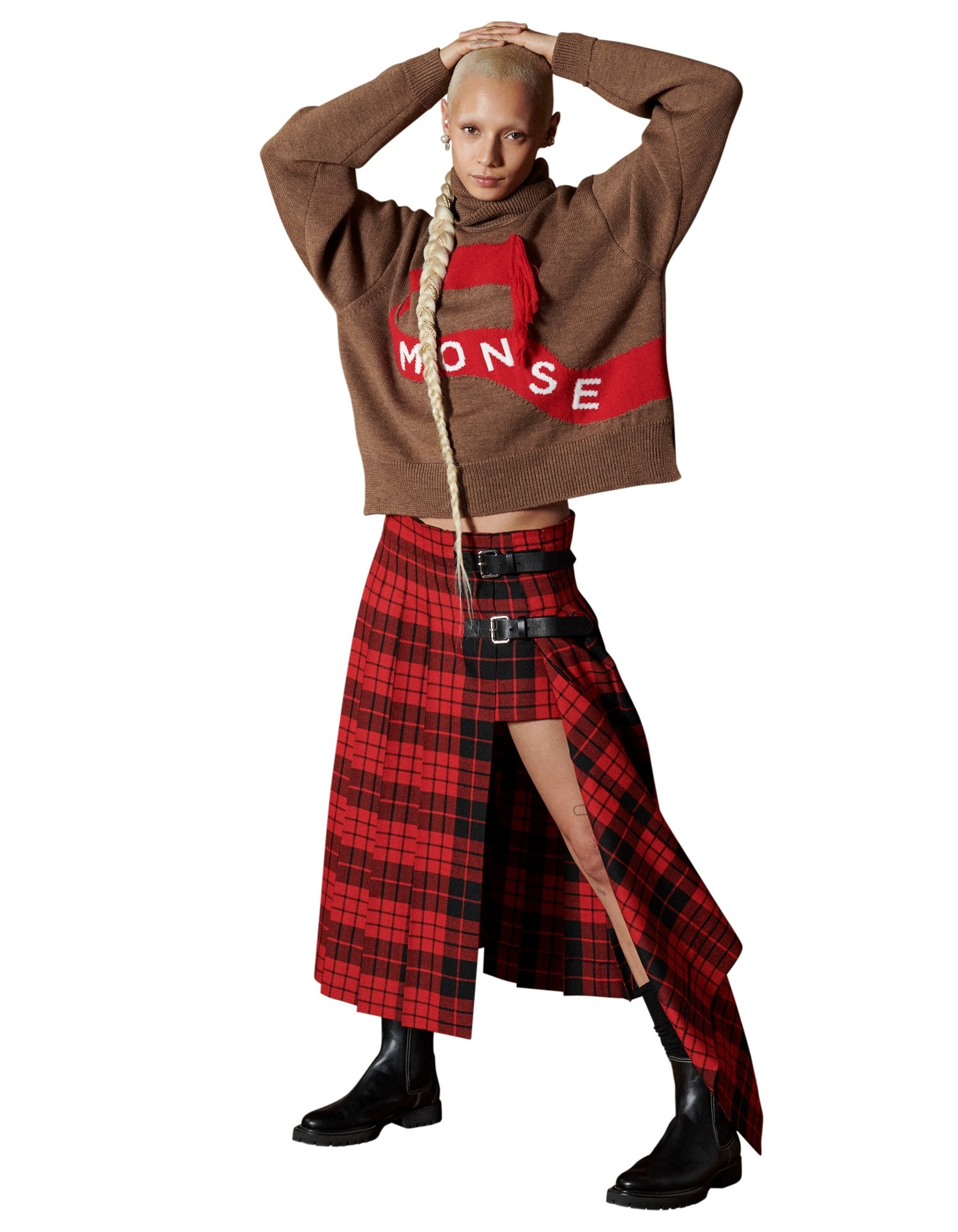 MONSE Tartan Pleated Academy Skirt in Scarlet and Black on Model Front View