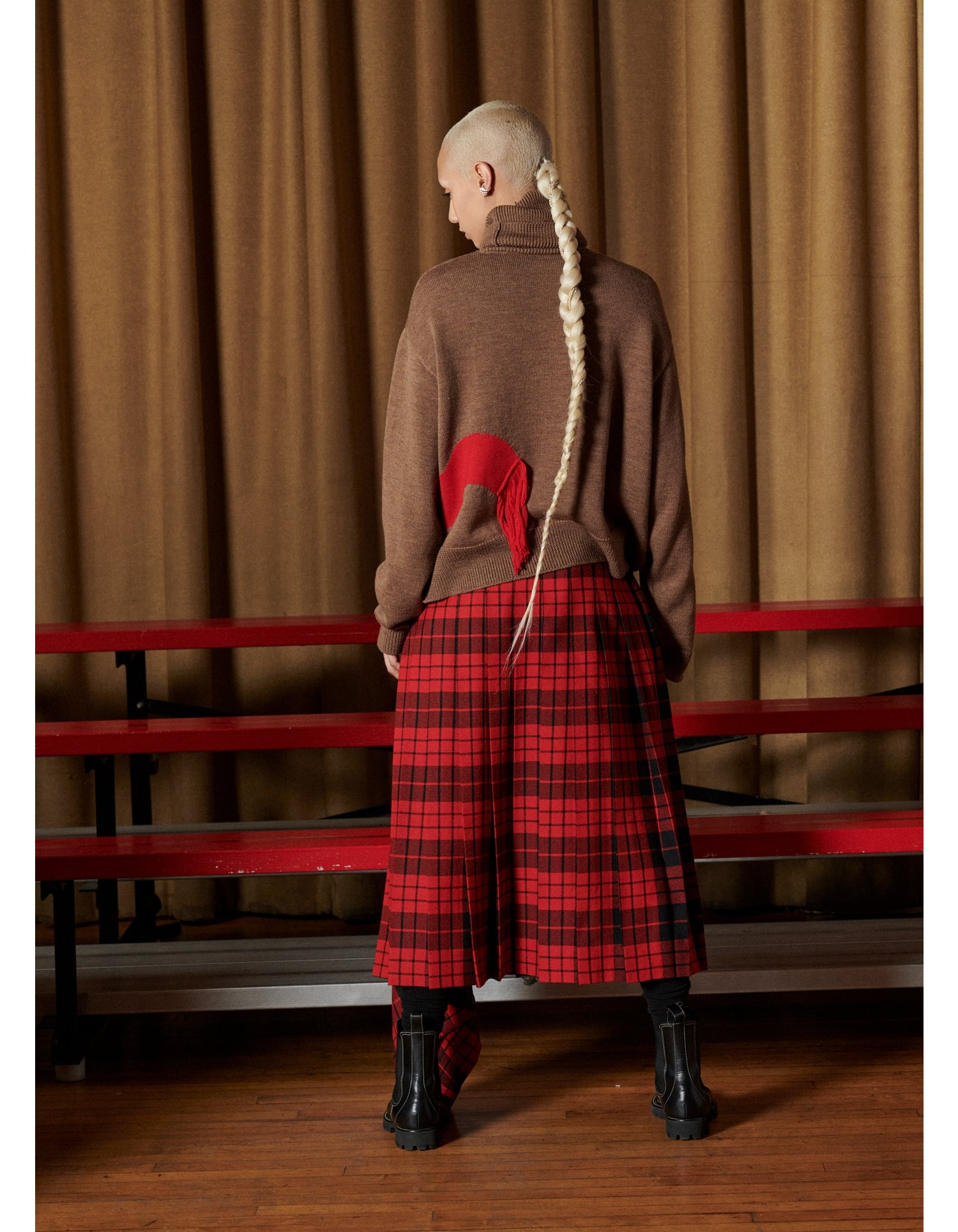 MONSE Tartan Pleated Academy Skirt in Scarlet and Black on Model Back View