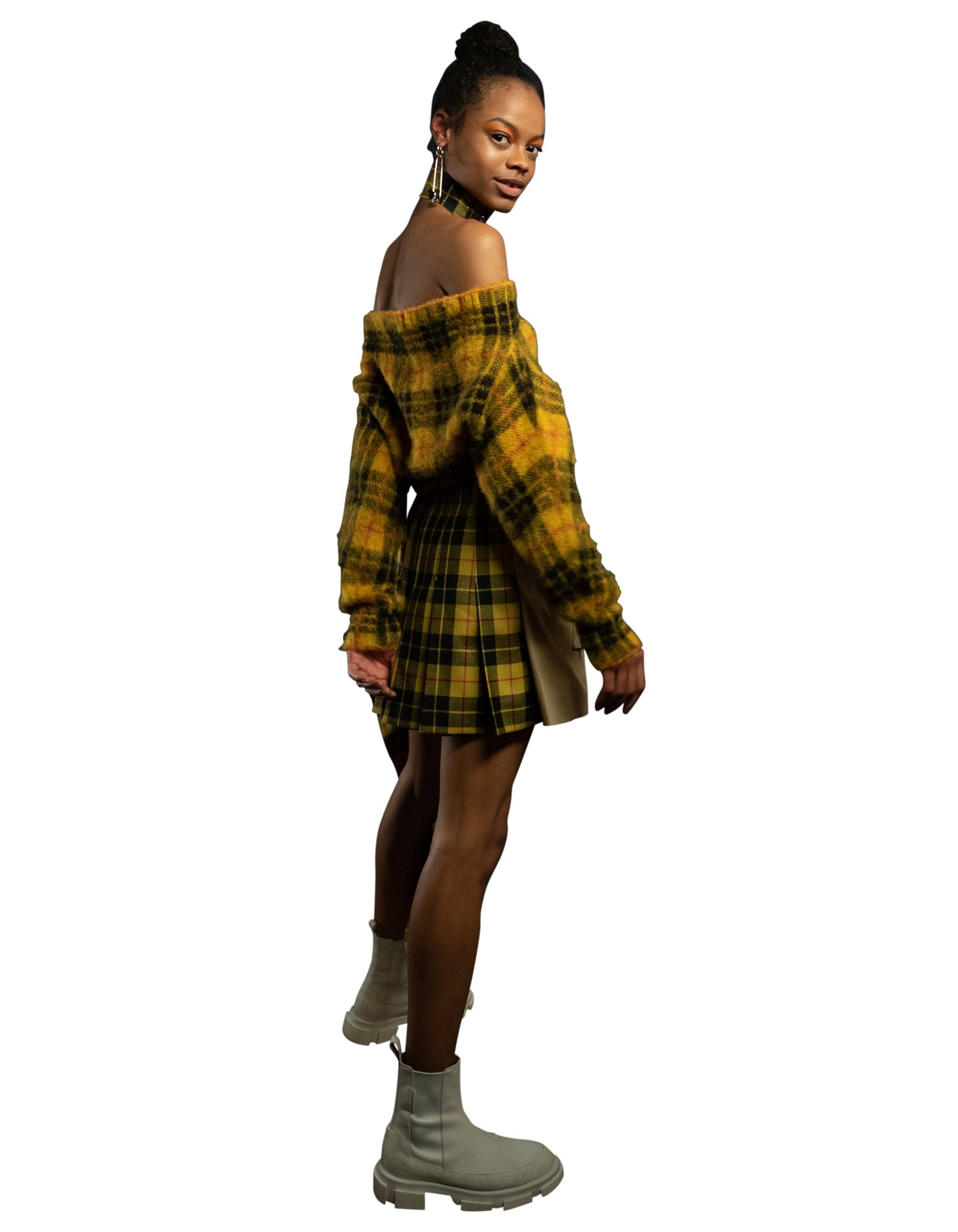 MONSE Tartan Pleated Cargo Skirt on Model Side View