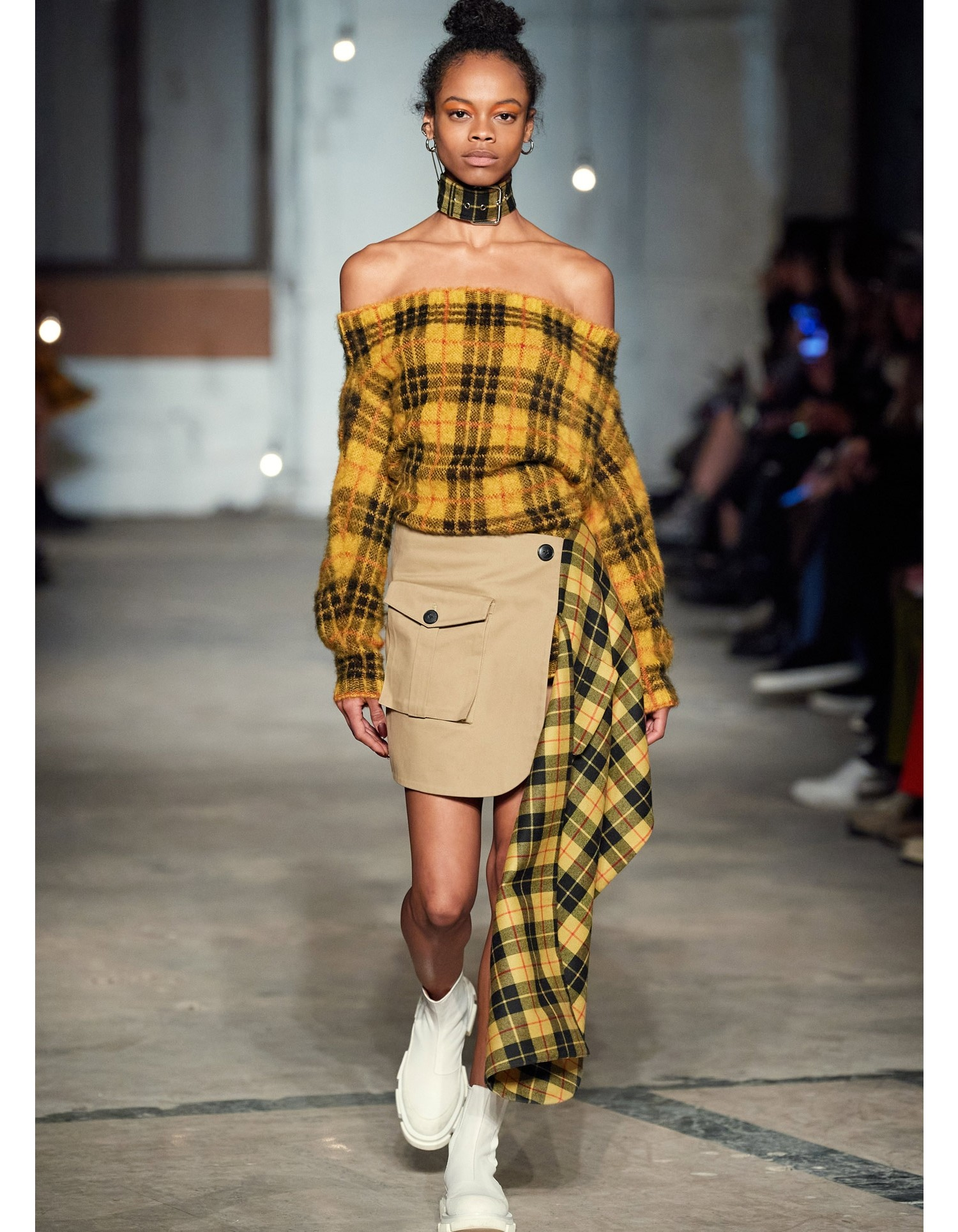 MONSE Tartan Pleated Cargo Skirt in Mustard Multi on Model Runway Look