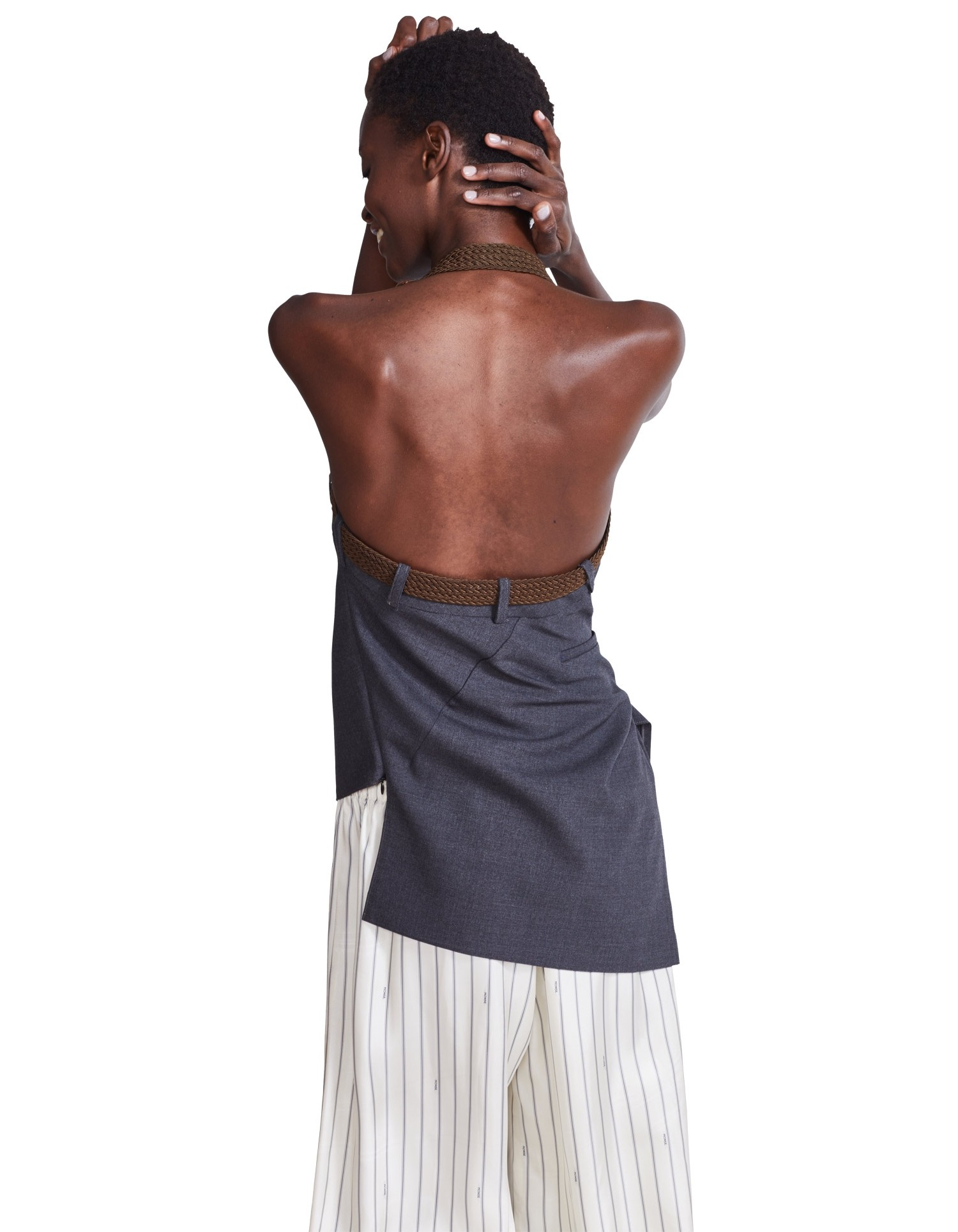 MONSE Trouser Draped Top on Model Back View