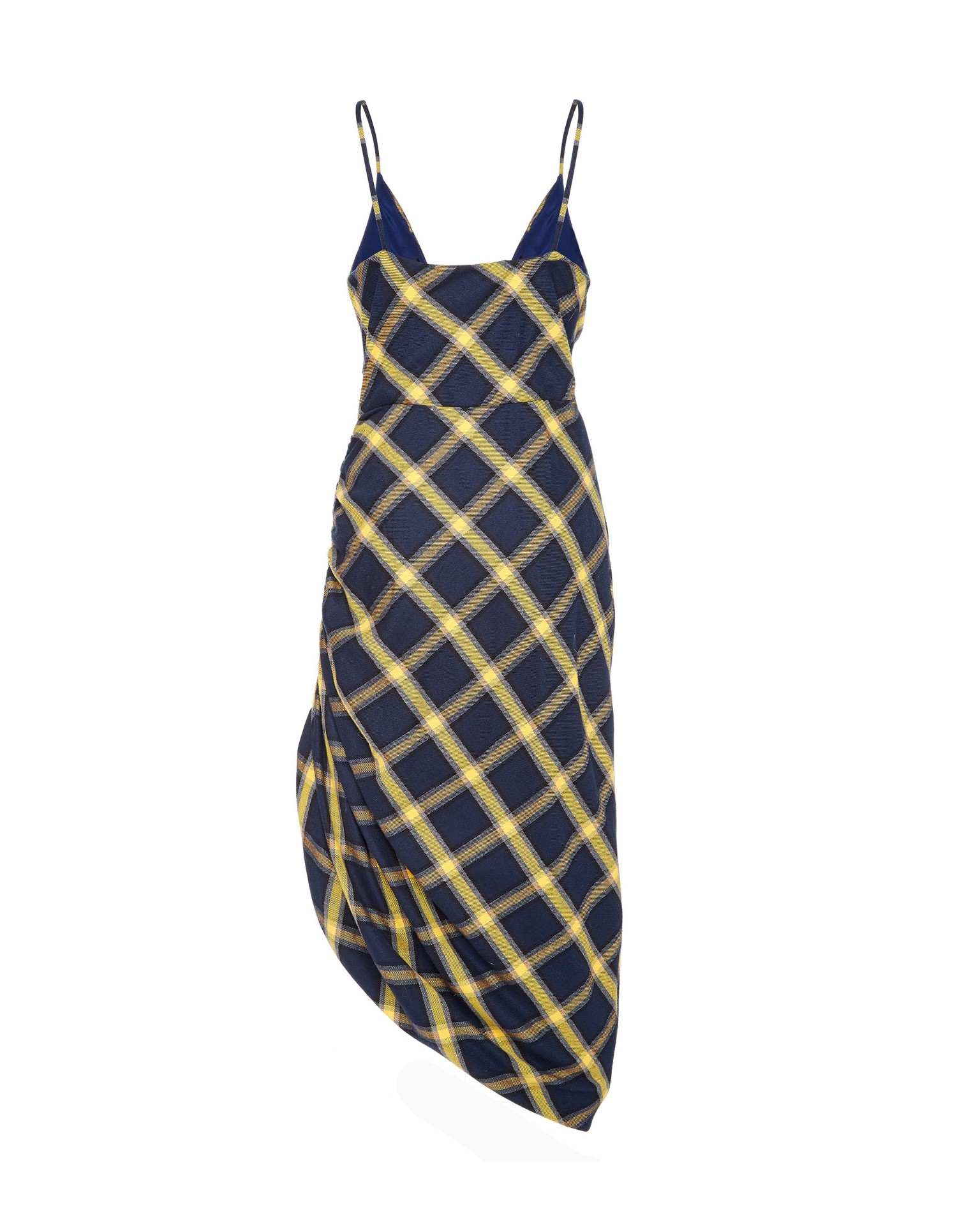 MONSE Twisted Plaid Slip Dress in Midnight and Yellow Flat Back