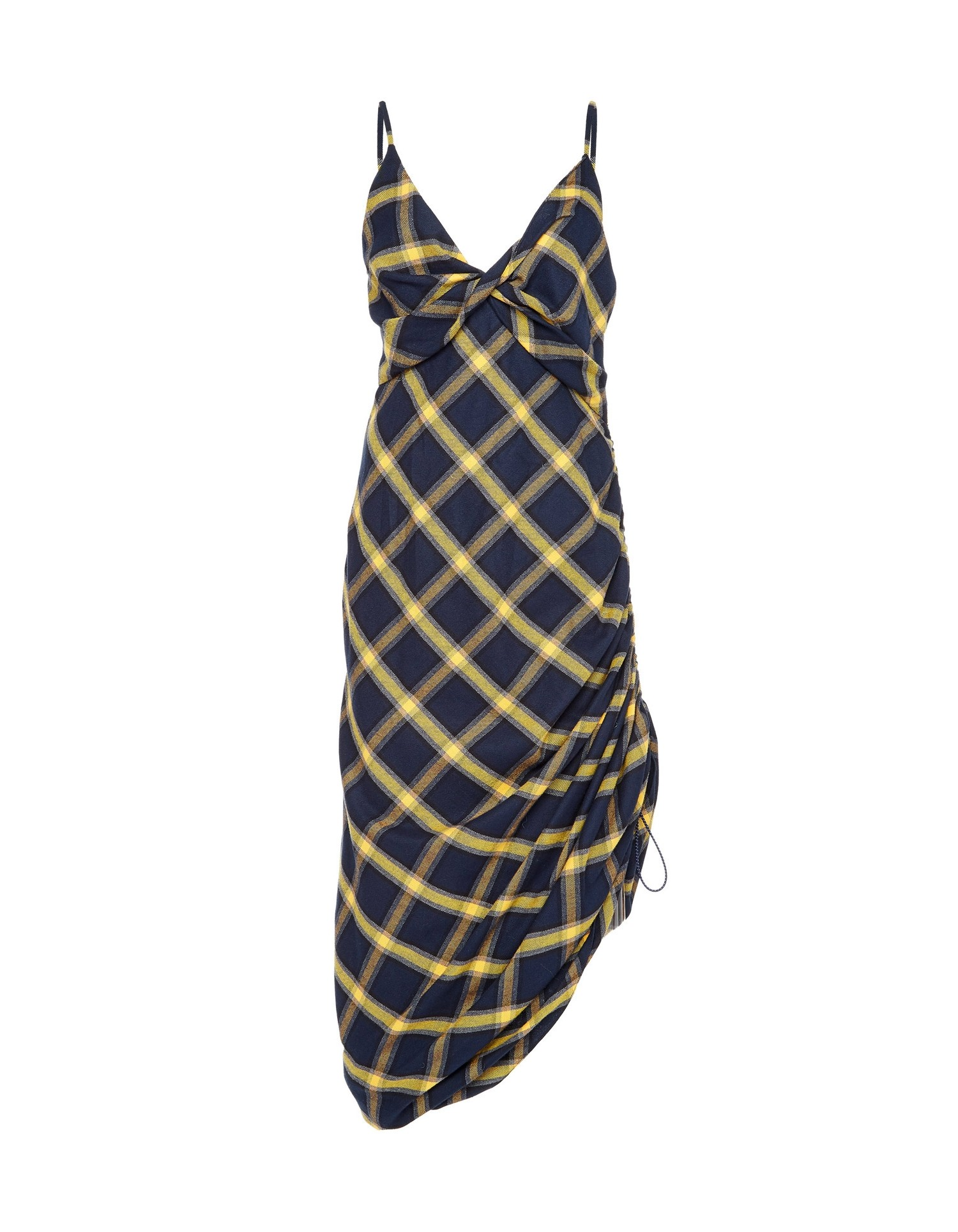 MONSE Twisted Plaid Slip Dress in Midnight and Yellow Flat Front