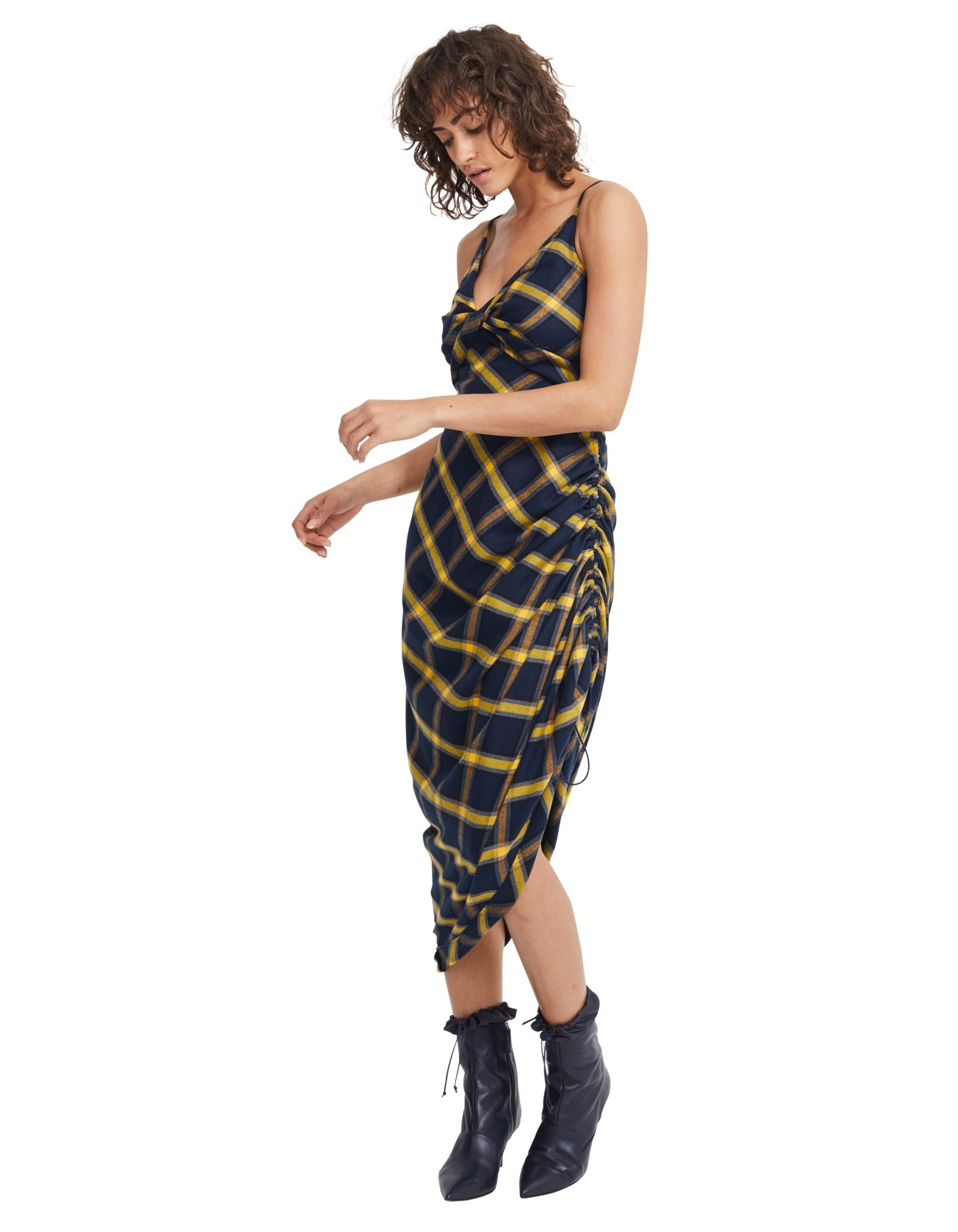 MONSE Twisted Plaid Slip Dress in Midnight and Yellow on Model Front View
