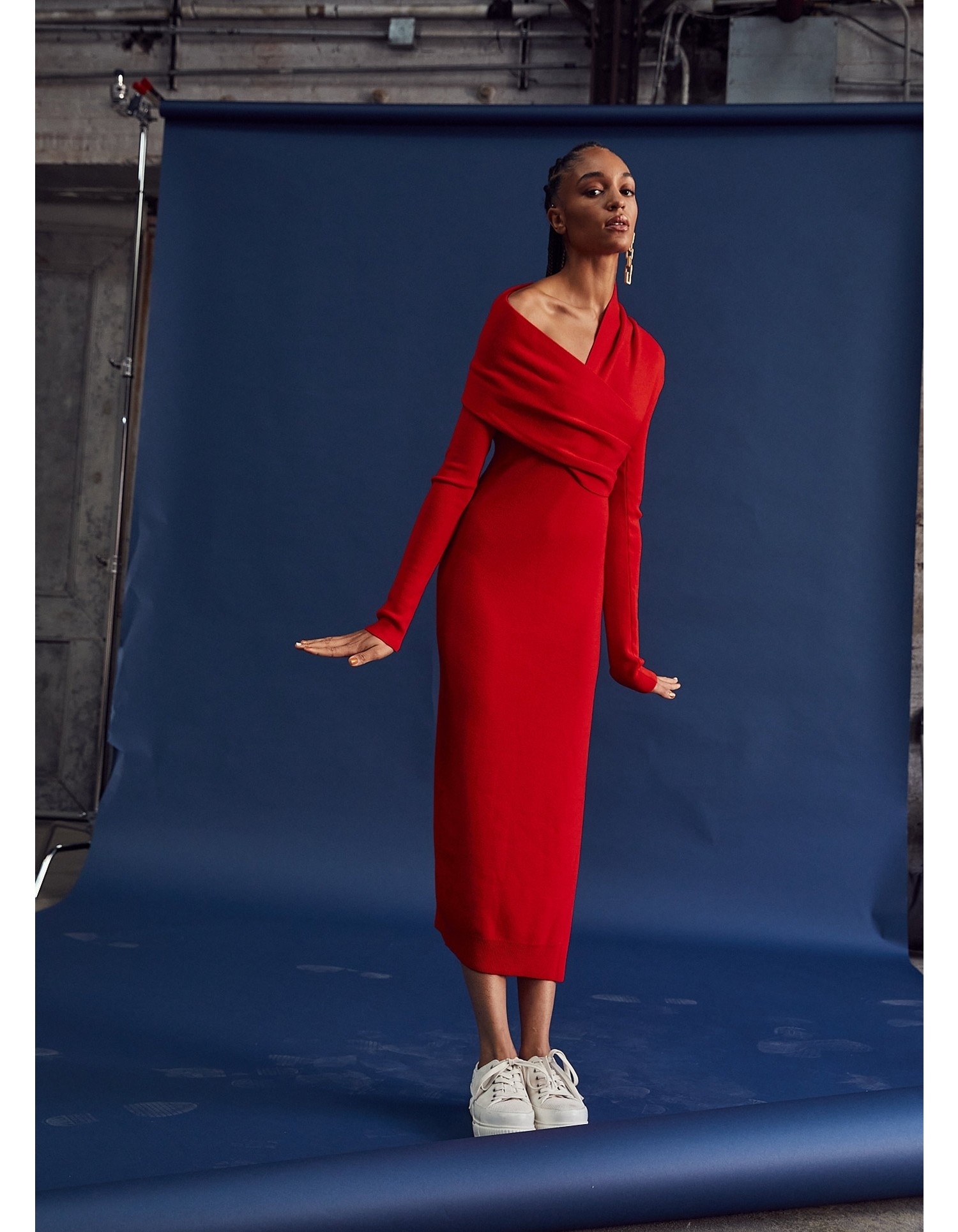 MONSE Twisted Wrap Collar Knit Dress in Code Red on Model Look 3
