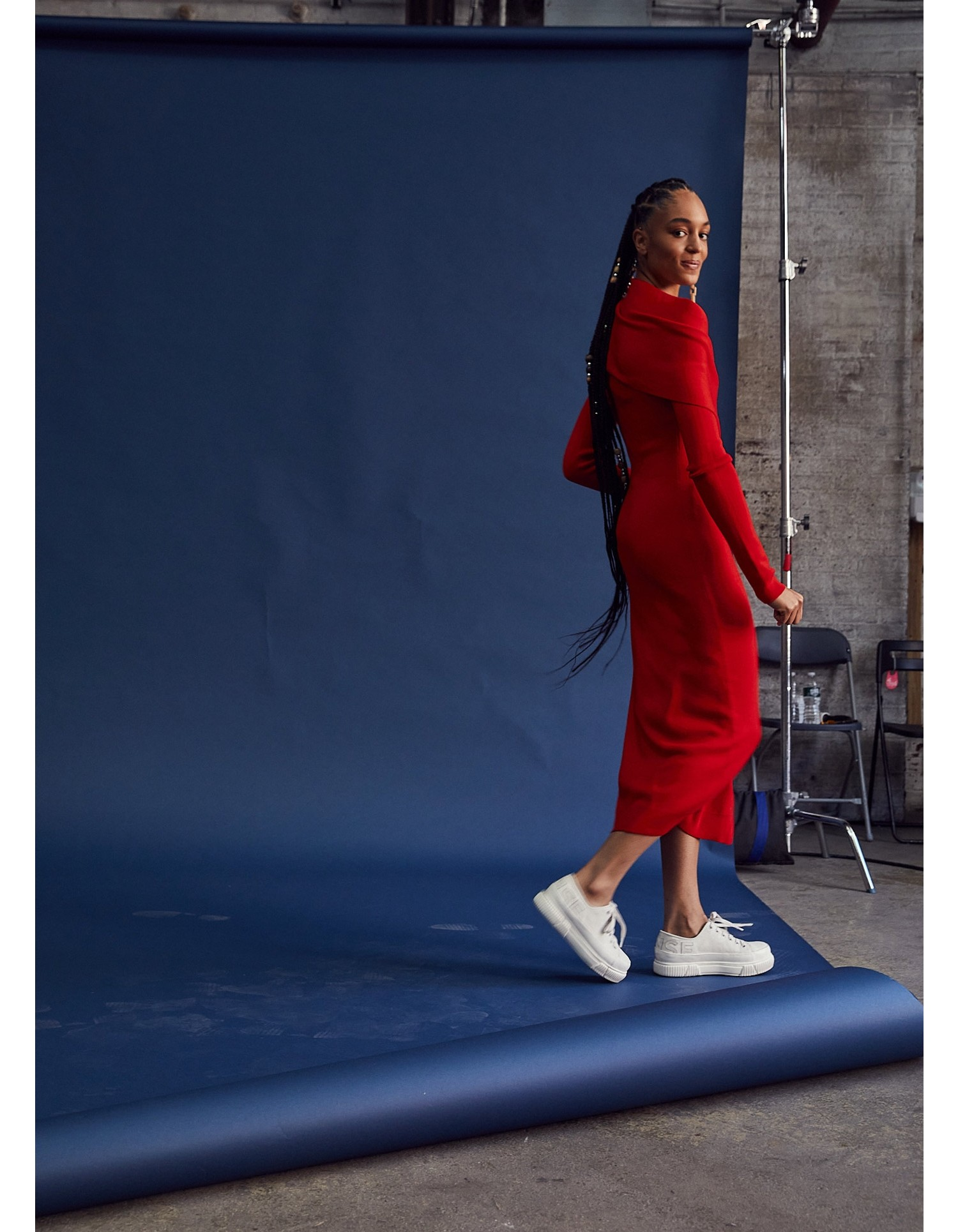 MONSE Twisted Wrap Collar Knit Dress in Code Red on Model Look 5