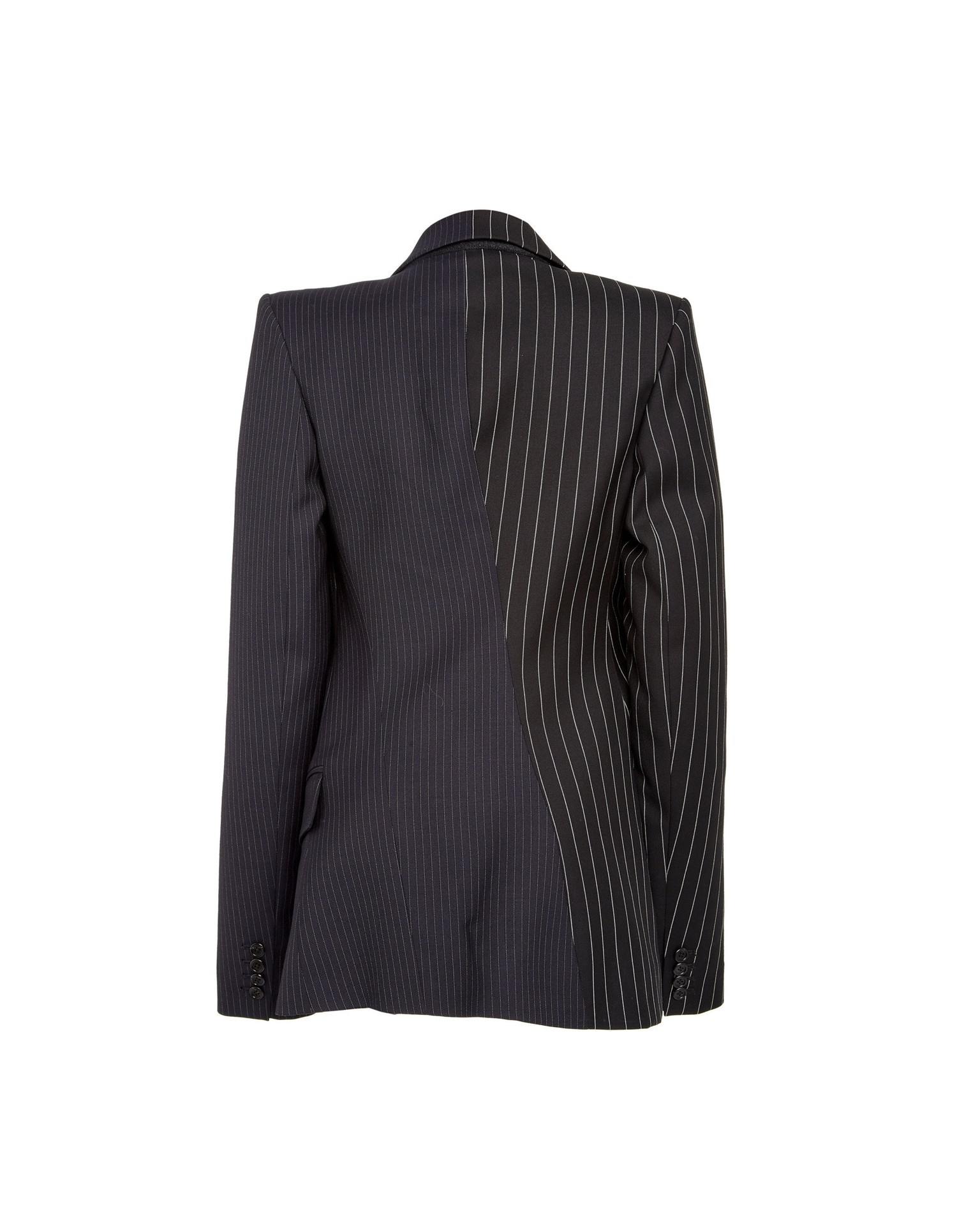 MONSE Two Tone Pinstripe Asymmetrical Blazer Flat Back