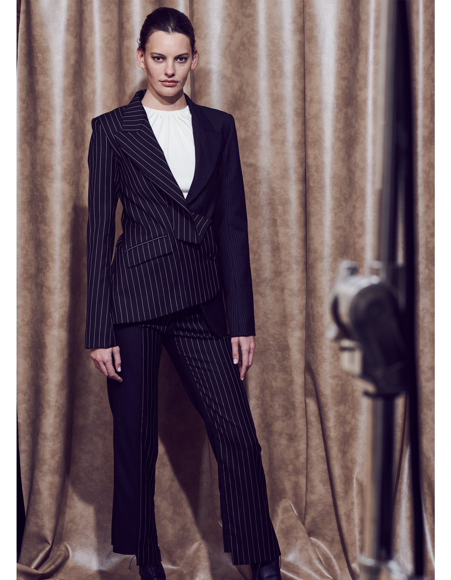 MONSE Two Tone Pinstripe Asymmetrical Blazer on Model Front View