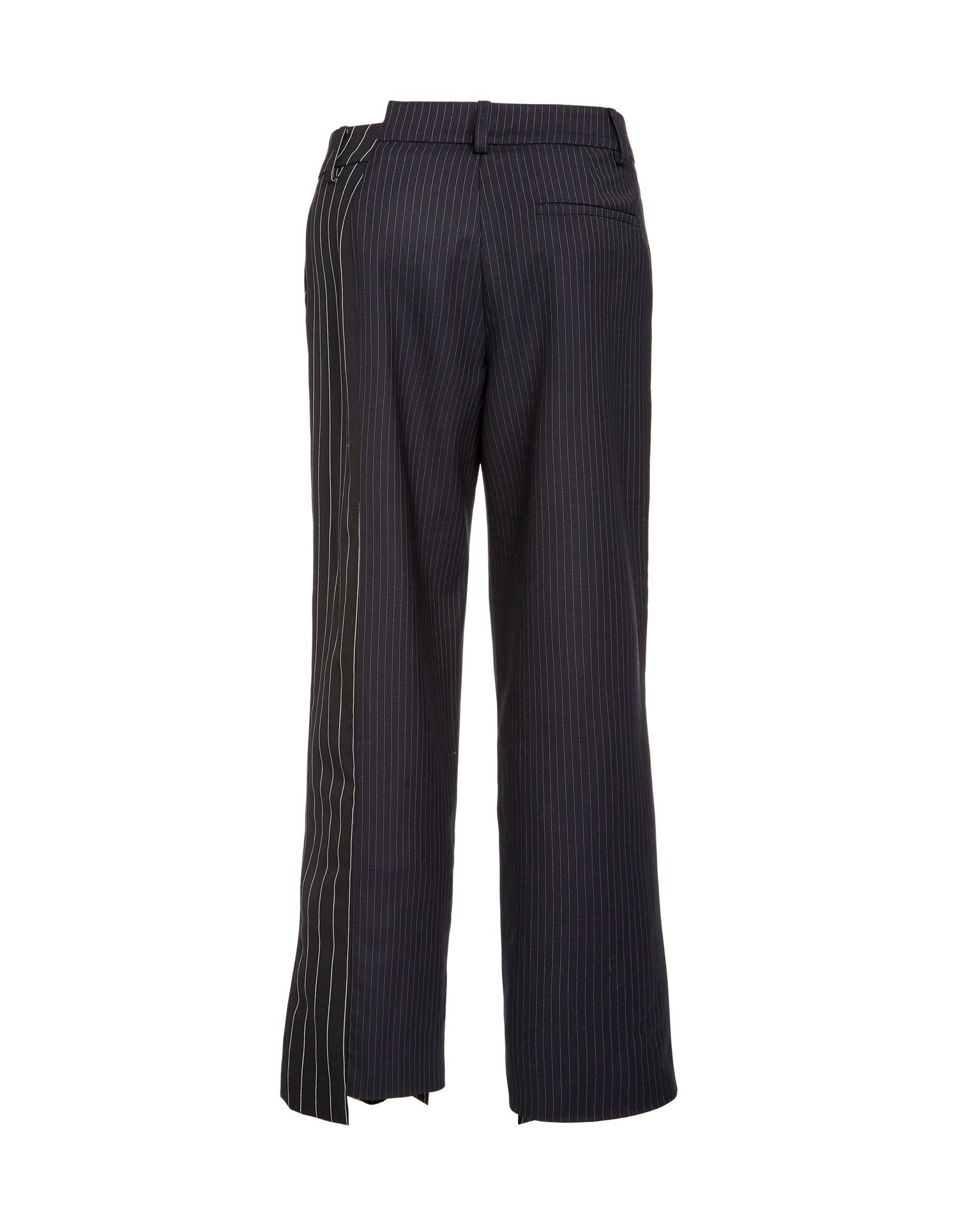 MONSE Two Tone Pinstripe Asymmetrical Pant Flat Back