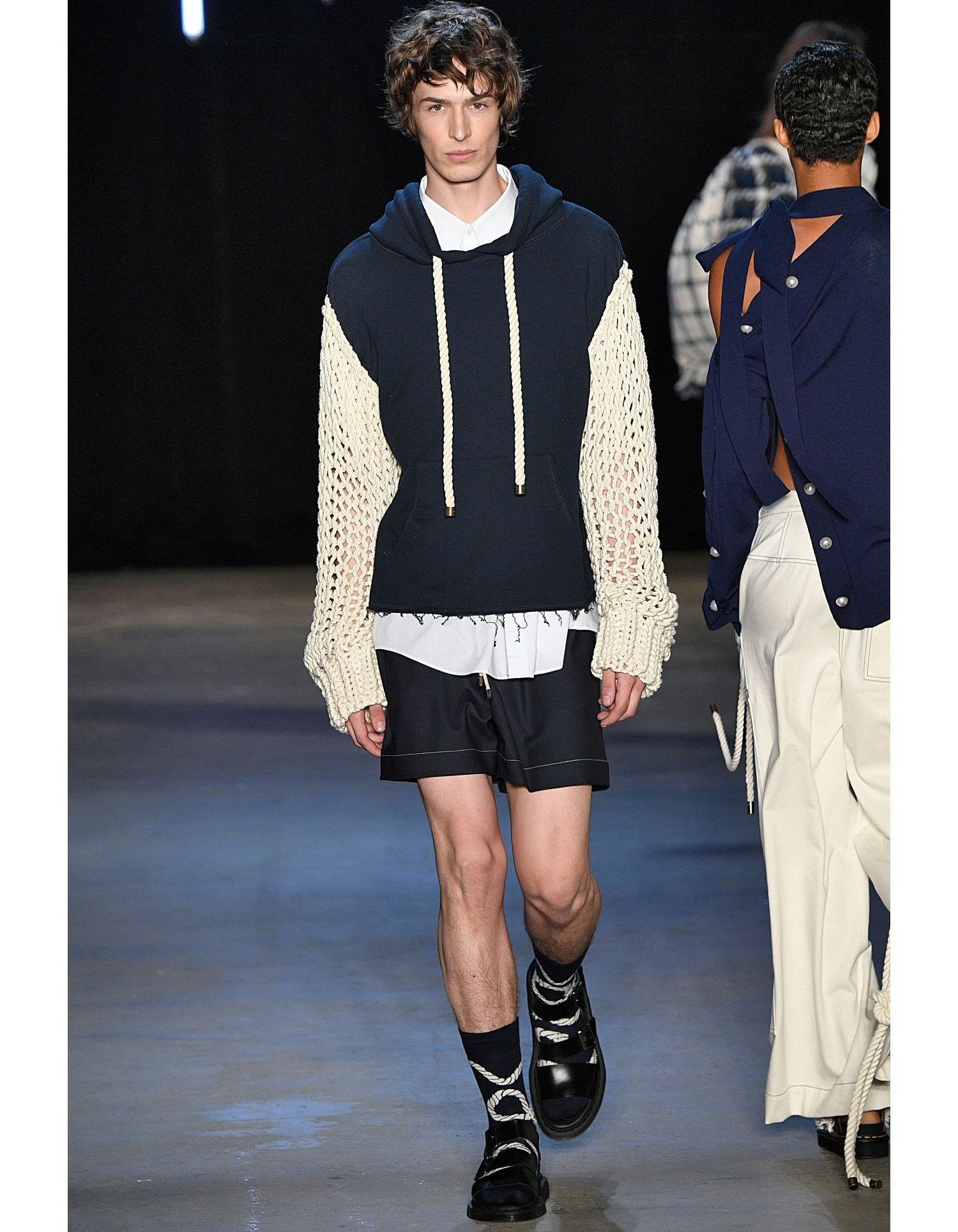 Monse Unisex Cropped Rope Hoodie on Runway Model