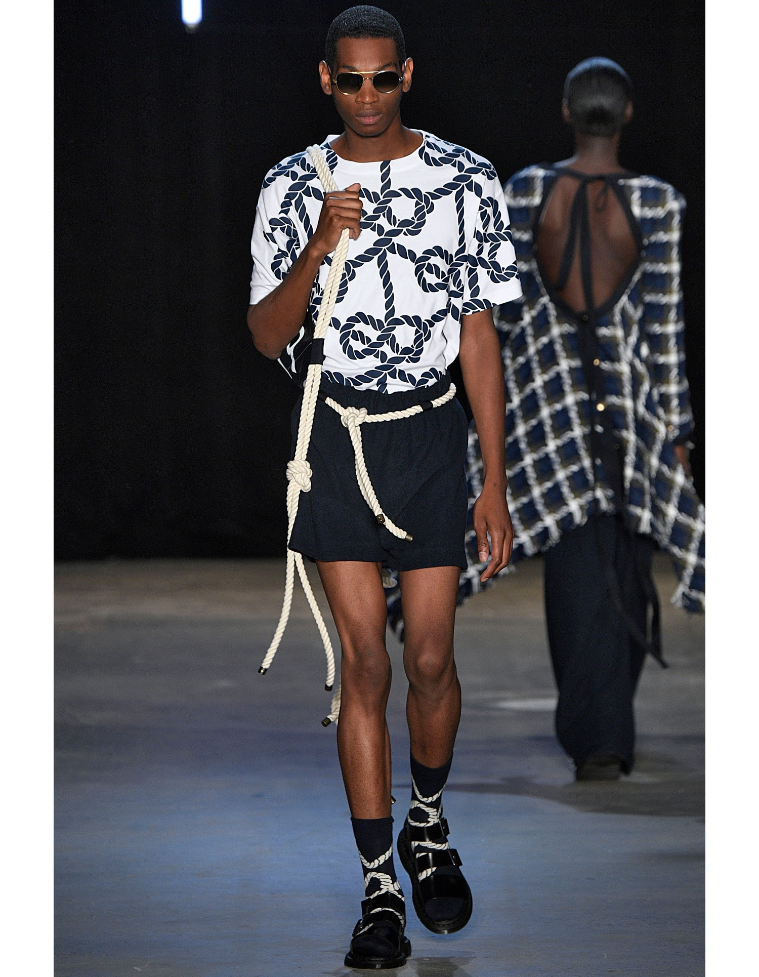 Monse Unisex Rope Print Tee on Runway Model