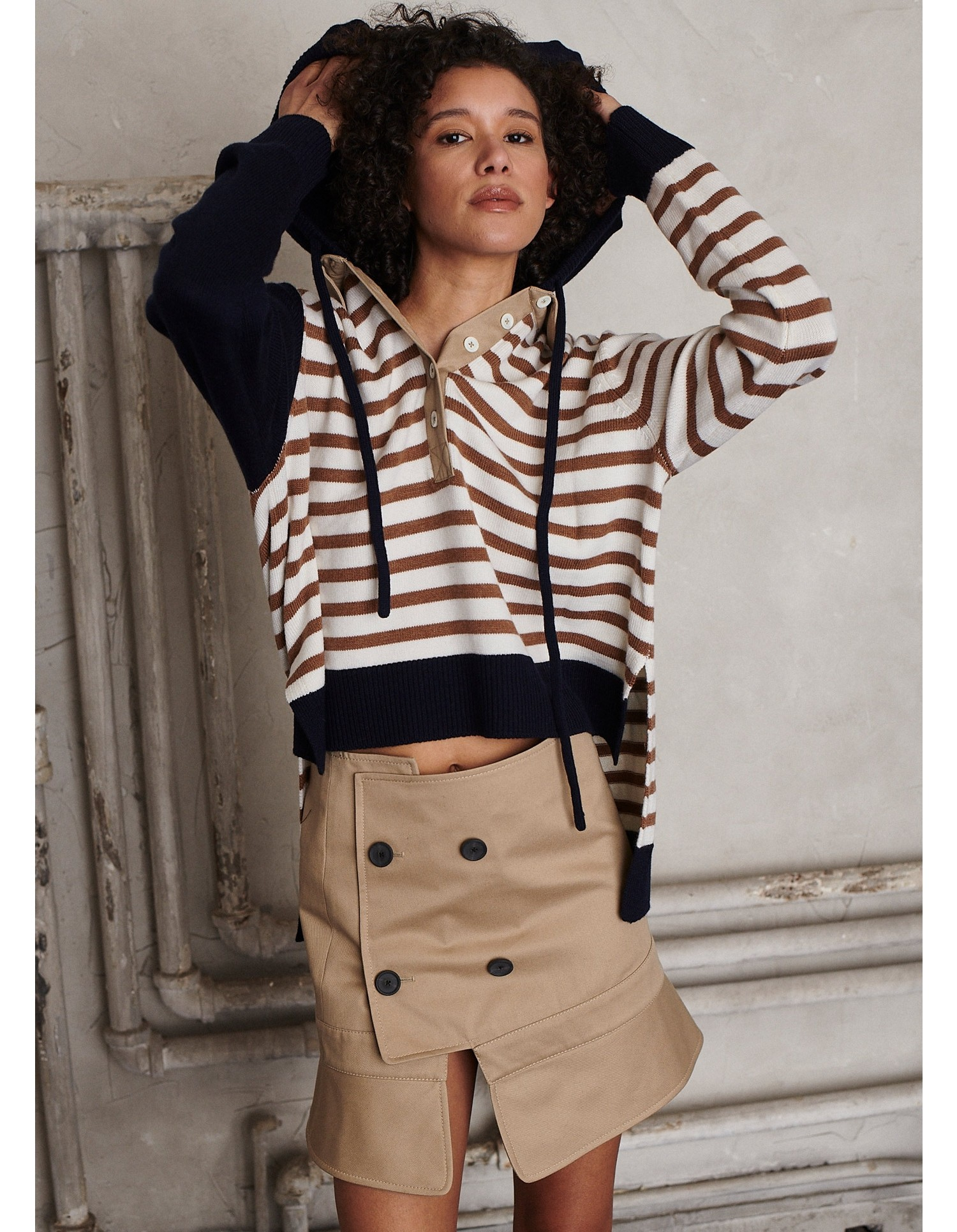 MONSE Upside Down Trench Collar Skirt on Model Front View