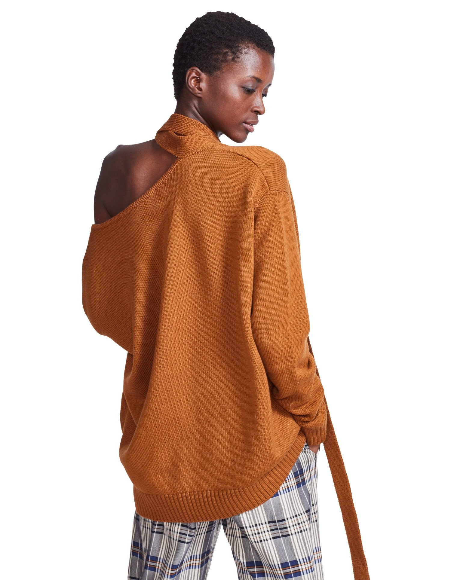 MONSE V Neck Tie 'M' Knit on Model Back View