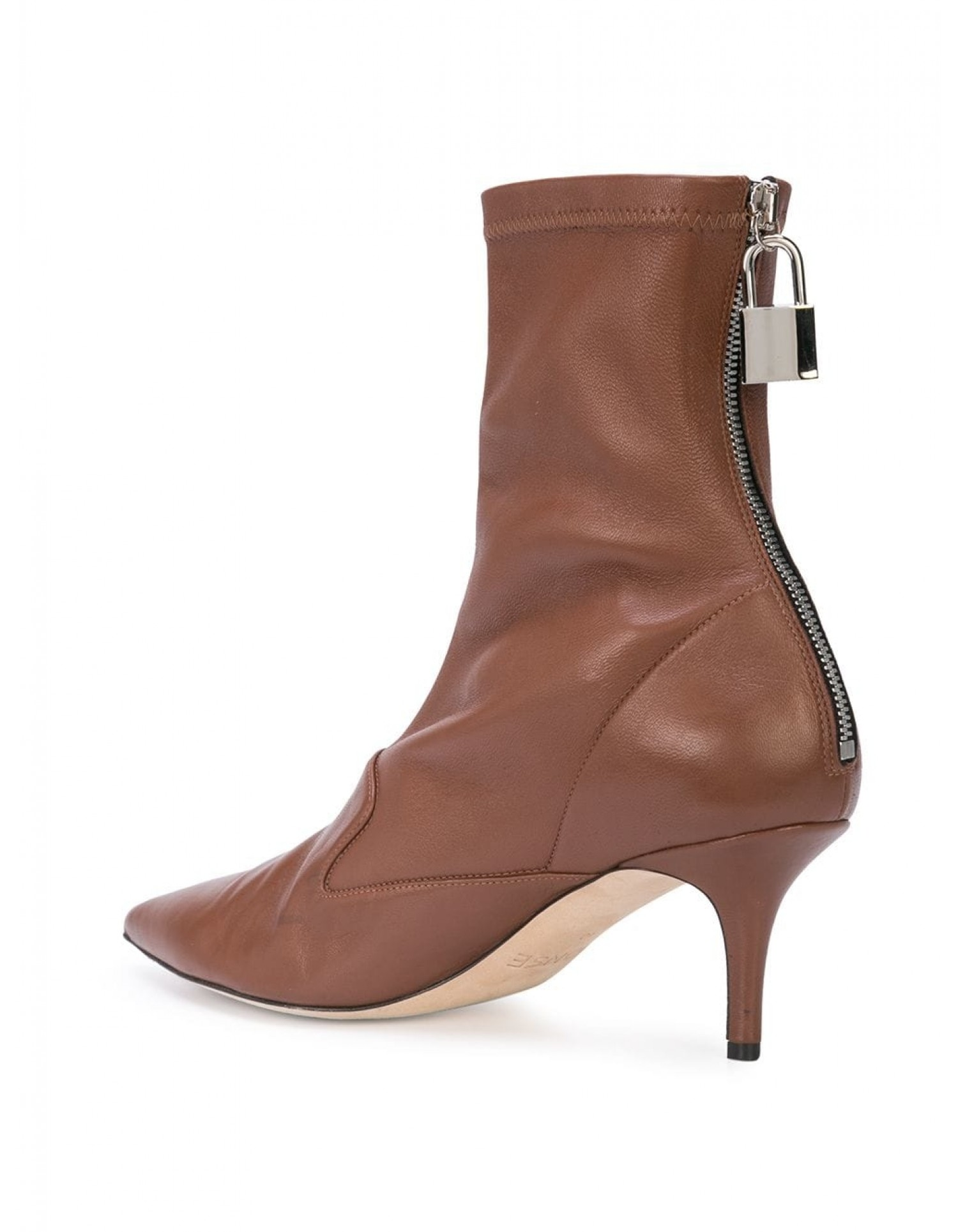Monse Women's Brown Leather Lock Bootie Angled View