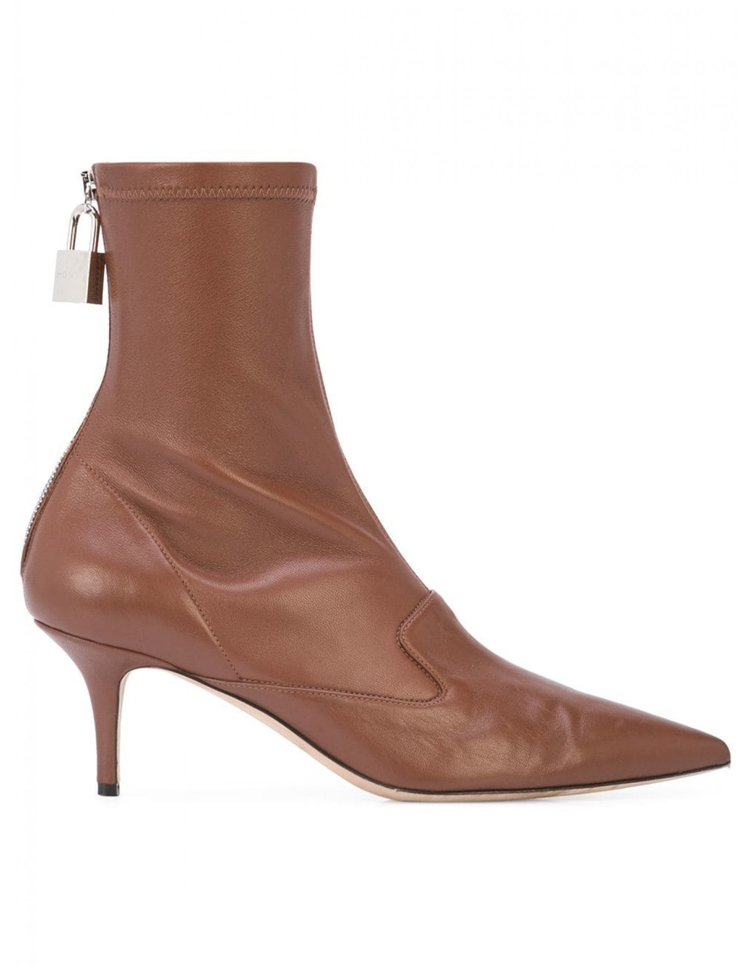 Monse Women's Brown Leather Lock Bootie Side View