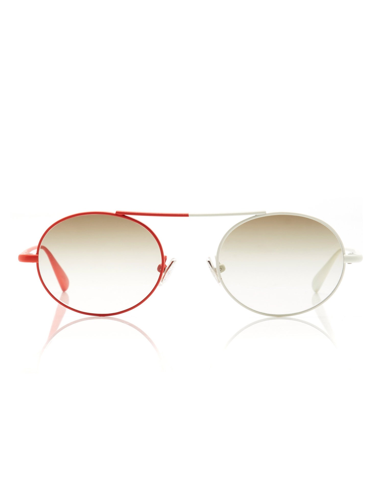 Monse Nina Sunglasses with Dual Colored Rims in Red and Ivory