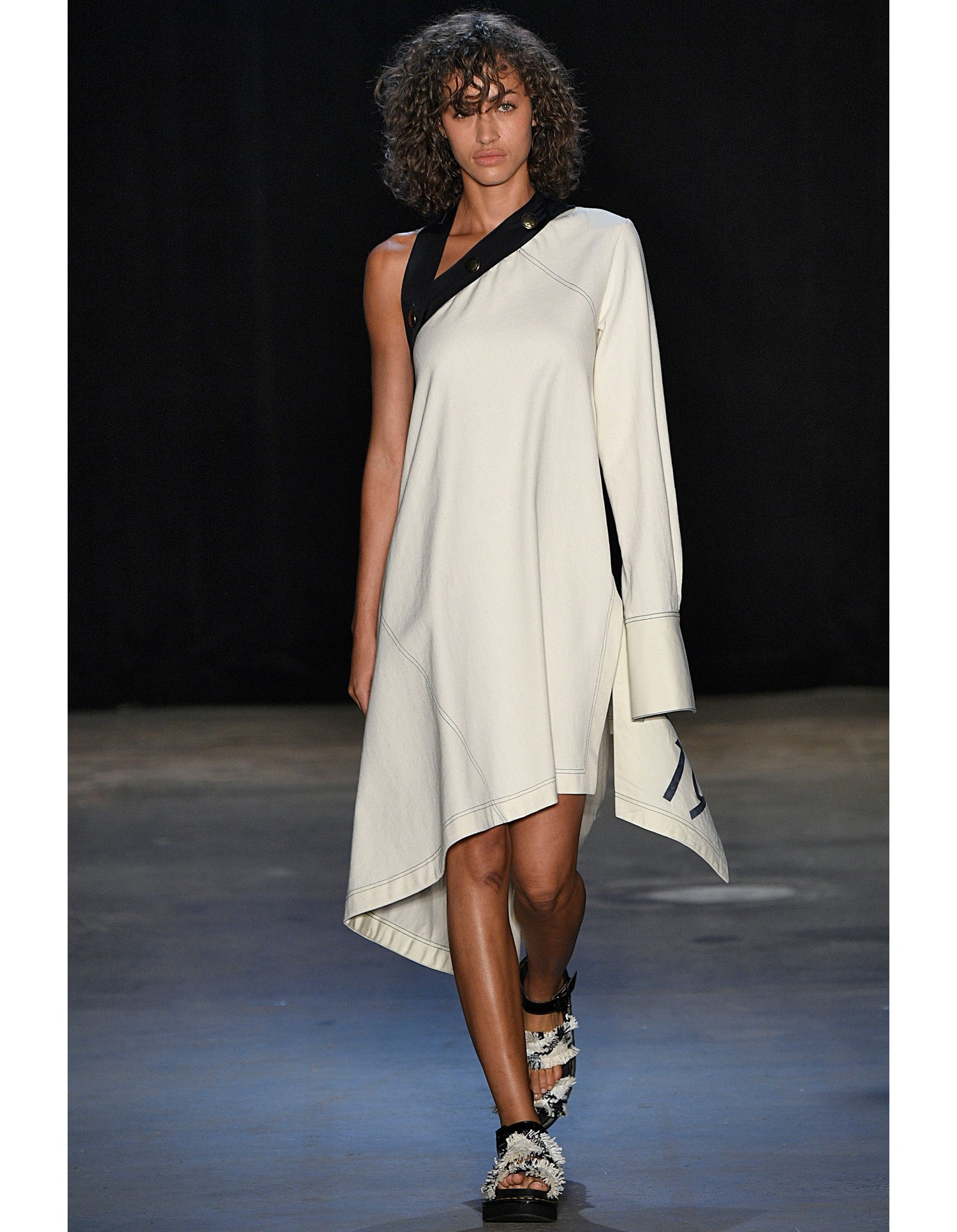 Monse Womens Sail Print Asymmetric Canvas Dress on Runway Model