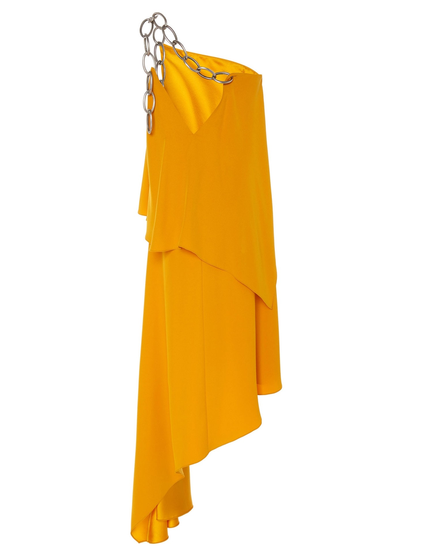 Shoulder Chain Draped Dress in Yellow Back