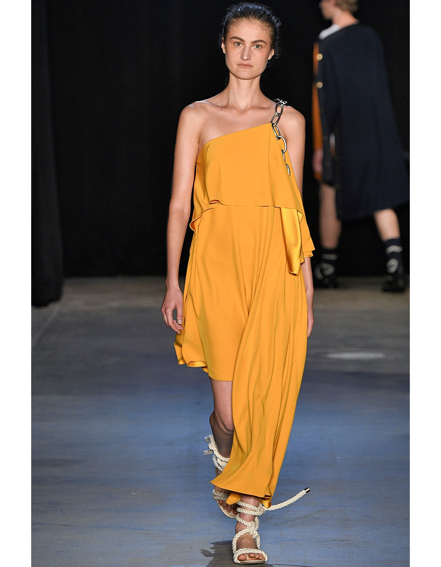 Shoulder Chain Draped Dress in Yellow on Runway Model