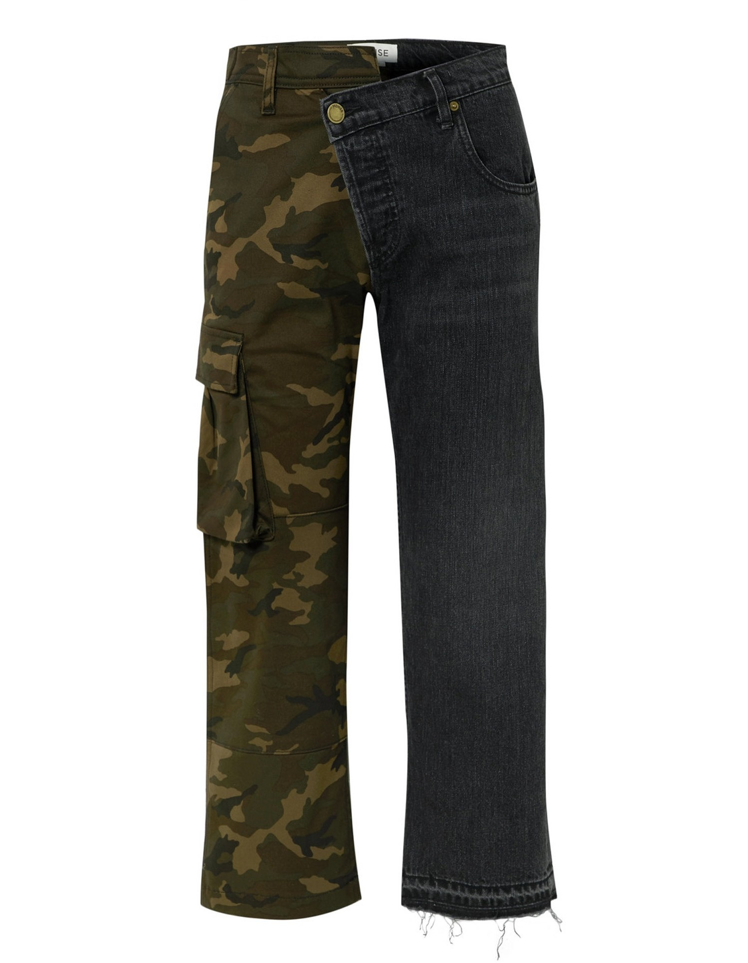 Split Camo Cargo Jean - Dark Blue