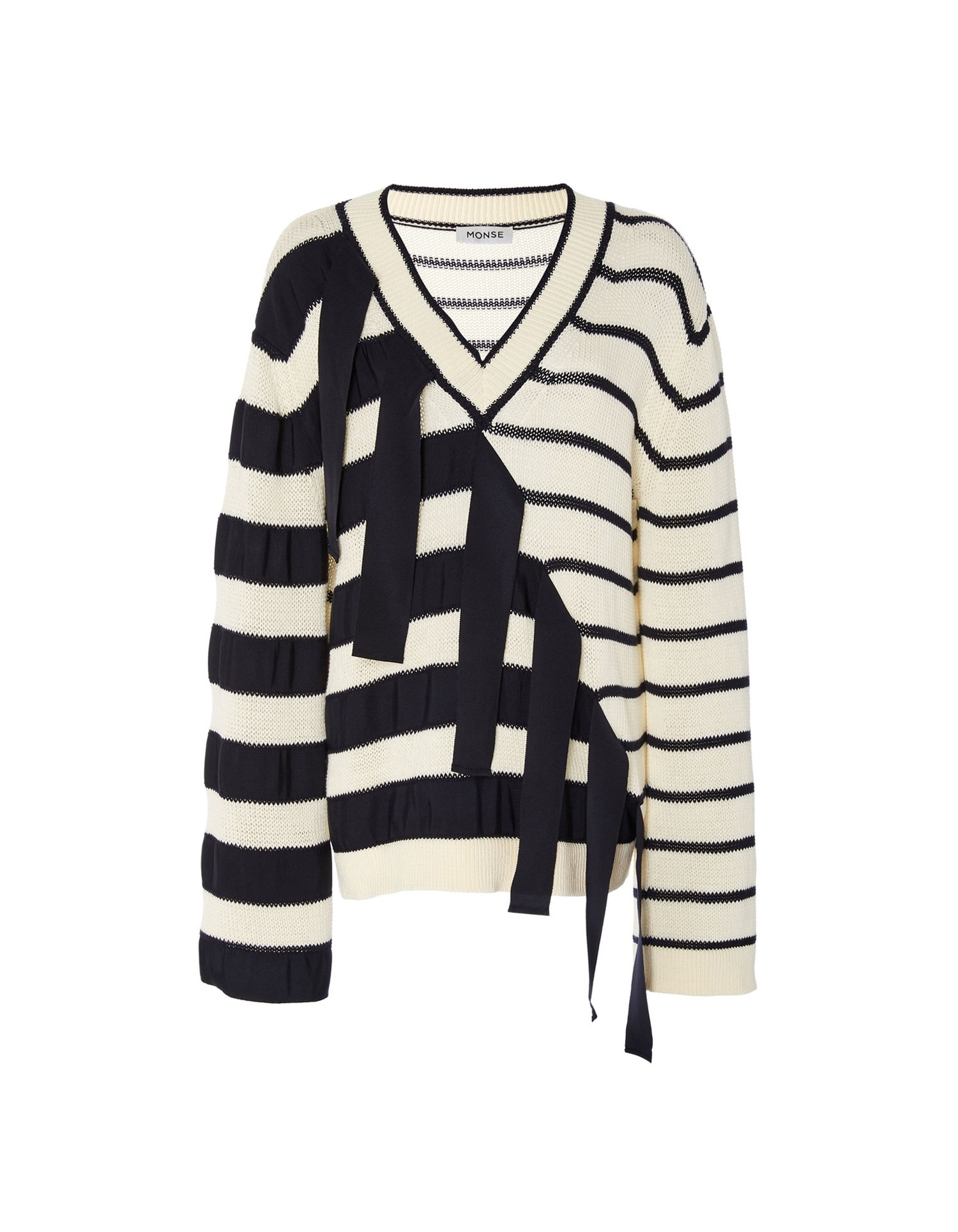Monse Women's V-Neck Falling Stripes Pullover Front