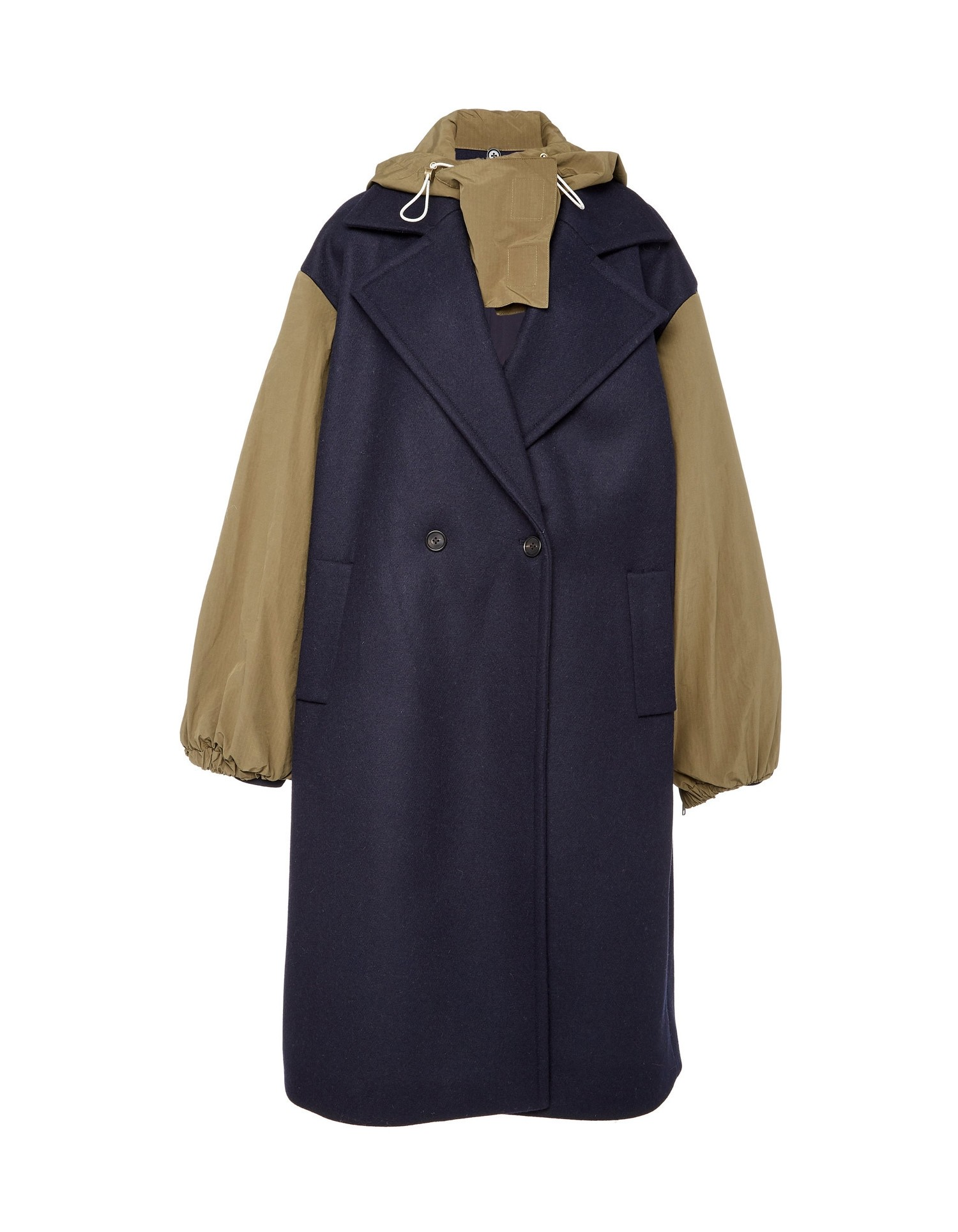 MONSE Wool & Nylon Double Coat Flat Front