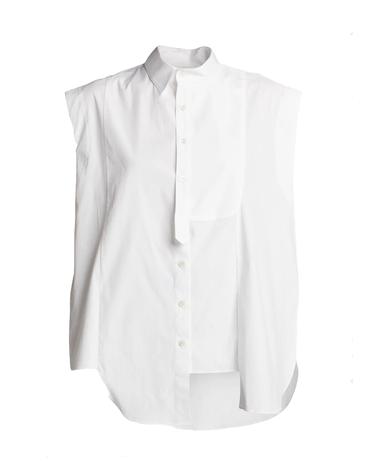MONSE Half and Half Sleeveless Shirt in White on Flat Front View