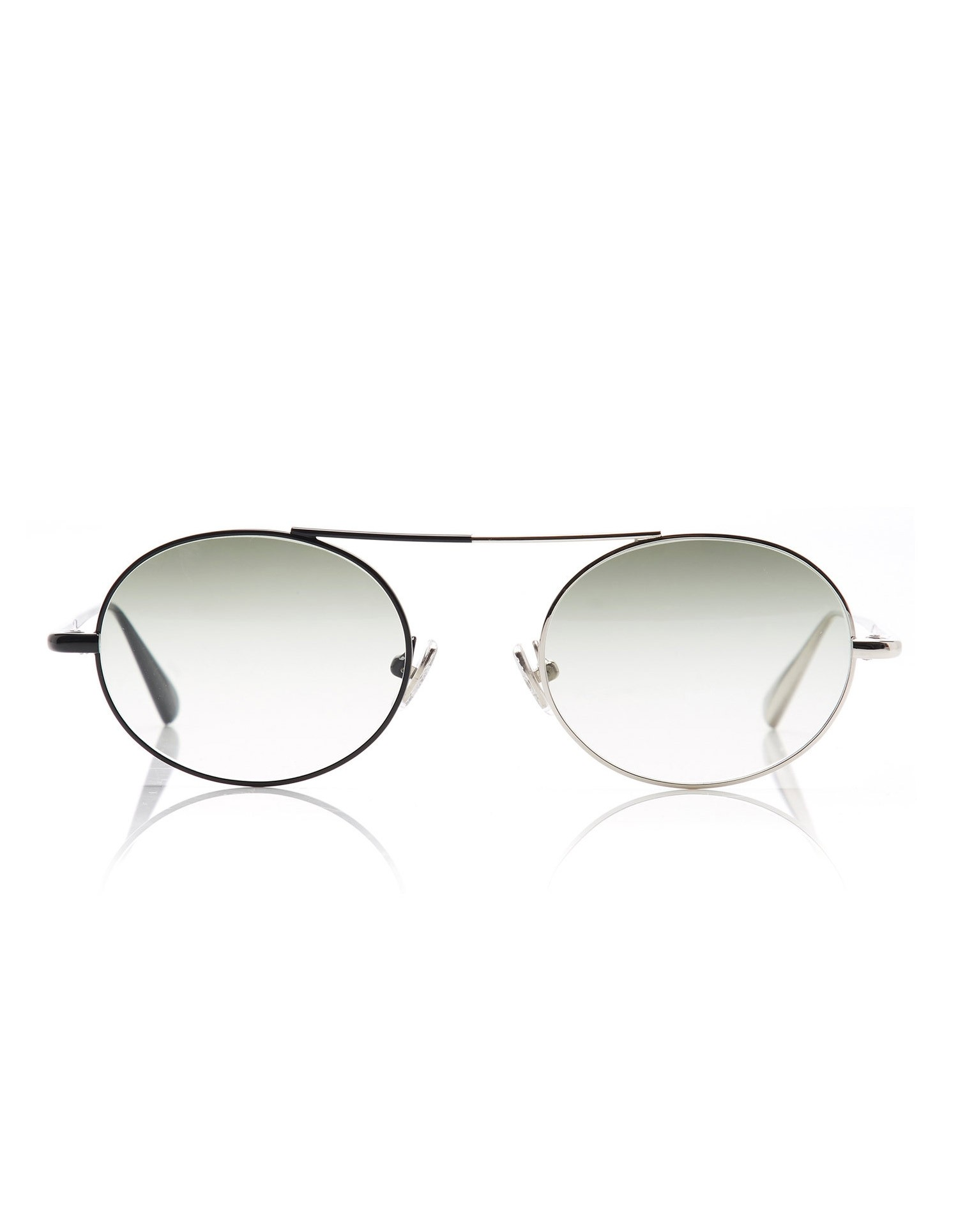 Monse Nina Sunglasses with Dual Colored Rims in Black and Silver