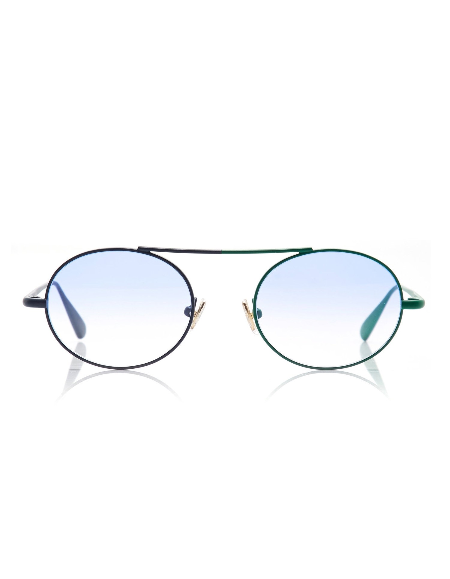 Monse Nina Sunglasses with Dual Colored Rims in Navy and Green